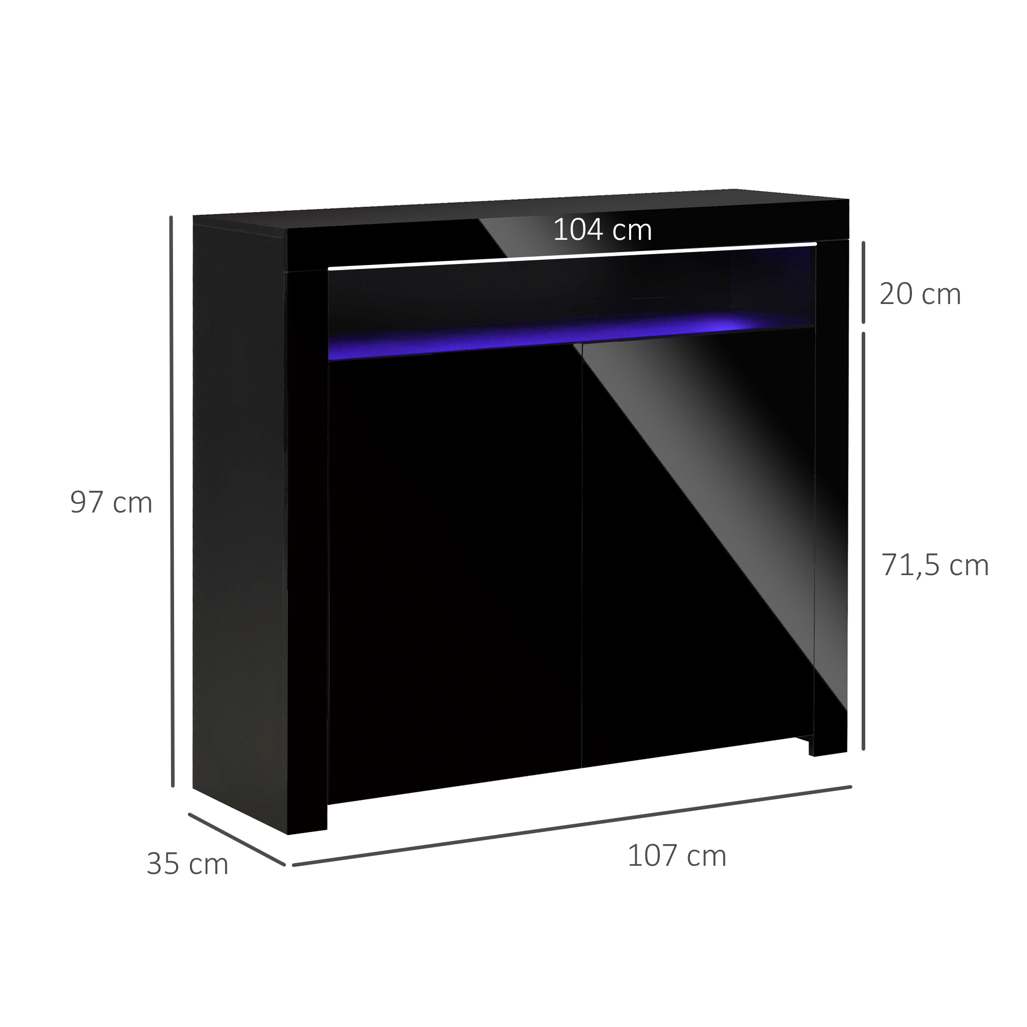 thumbnail 3 - High Gloss LED Cabinet Cupboard Sideboard Console with RGB Lighting