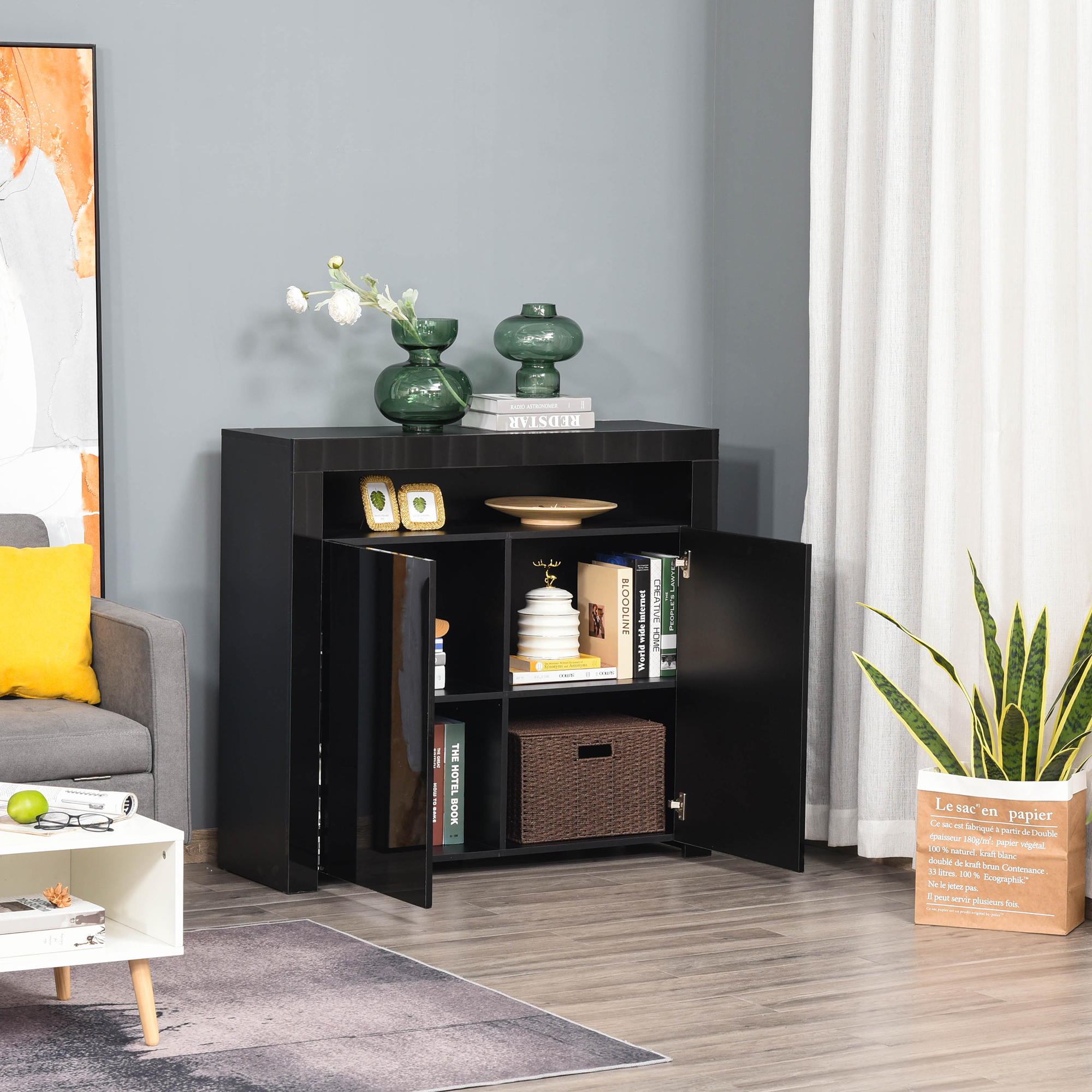 thumbnail 8 - High Gloss LED Cabinet Cupboard Sideboard Console with RGB Lighting
