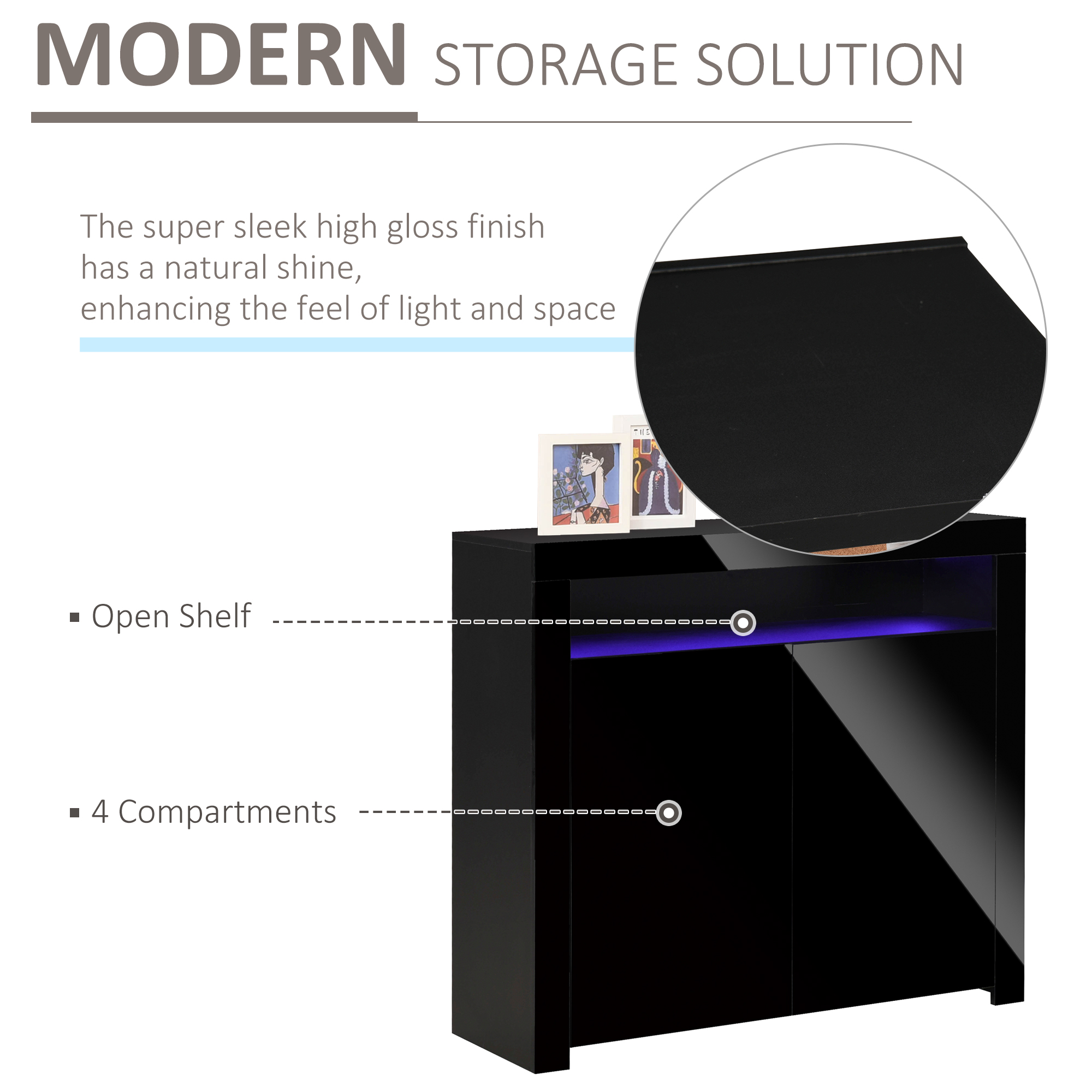 thumbnail 5 - High Gloss LED Cabinet Cupboard Sideboard Console with RGB Lighting