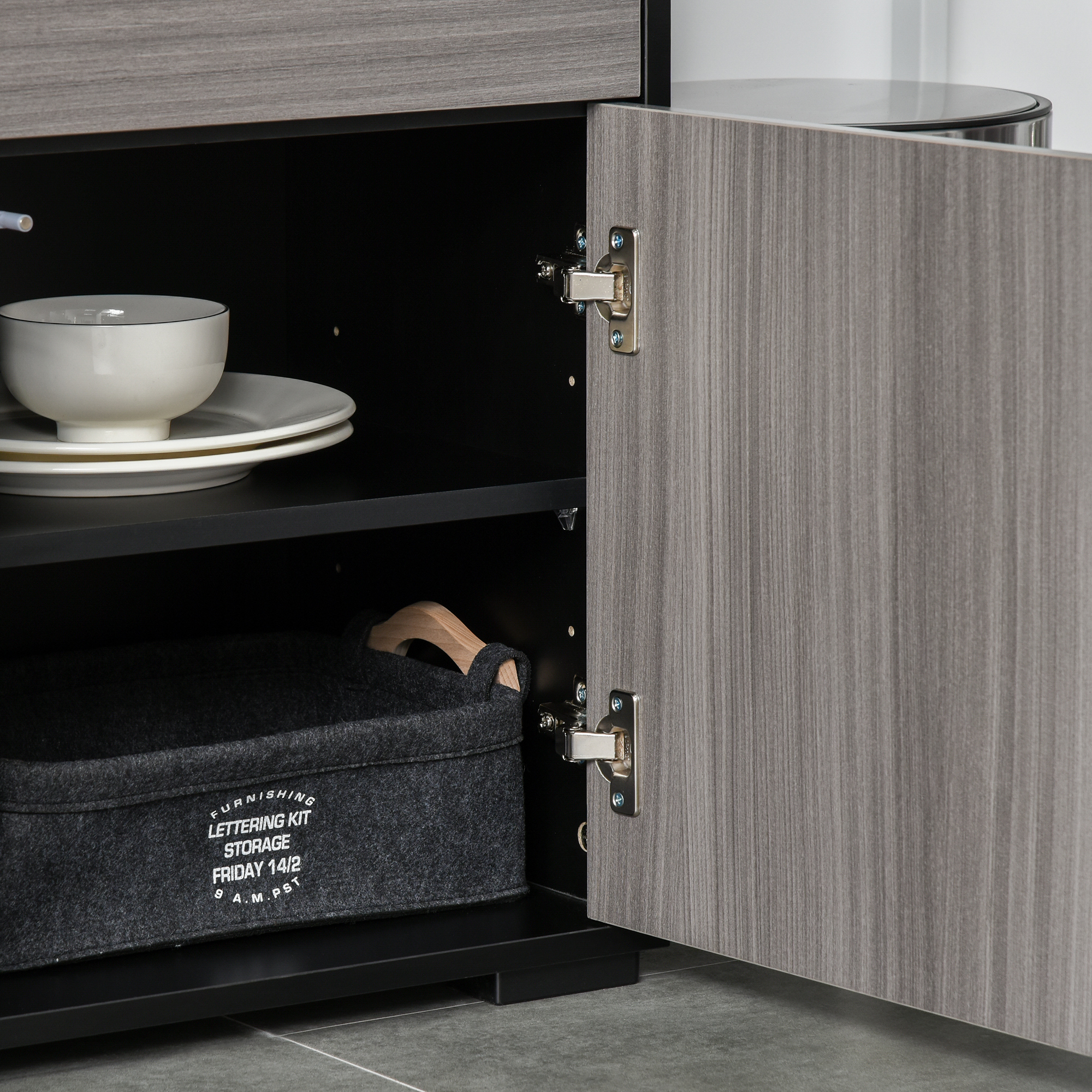 thumbnail 15 - Push-Open Side Cabinet with 2 Drawer 2 Door Cabinet for Home Office