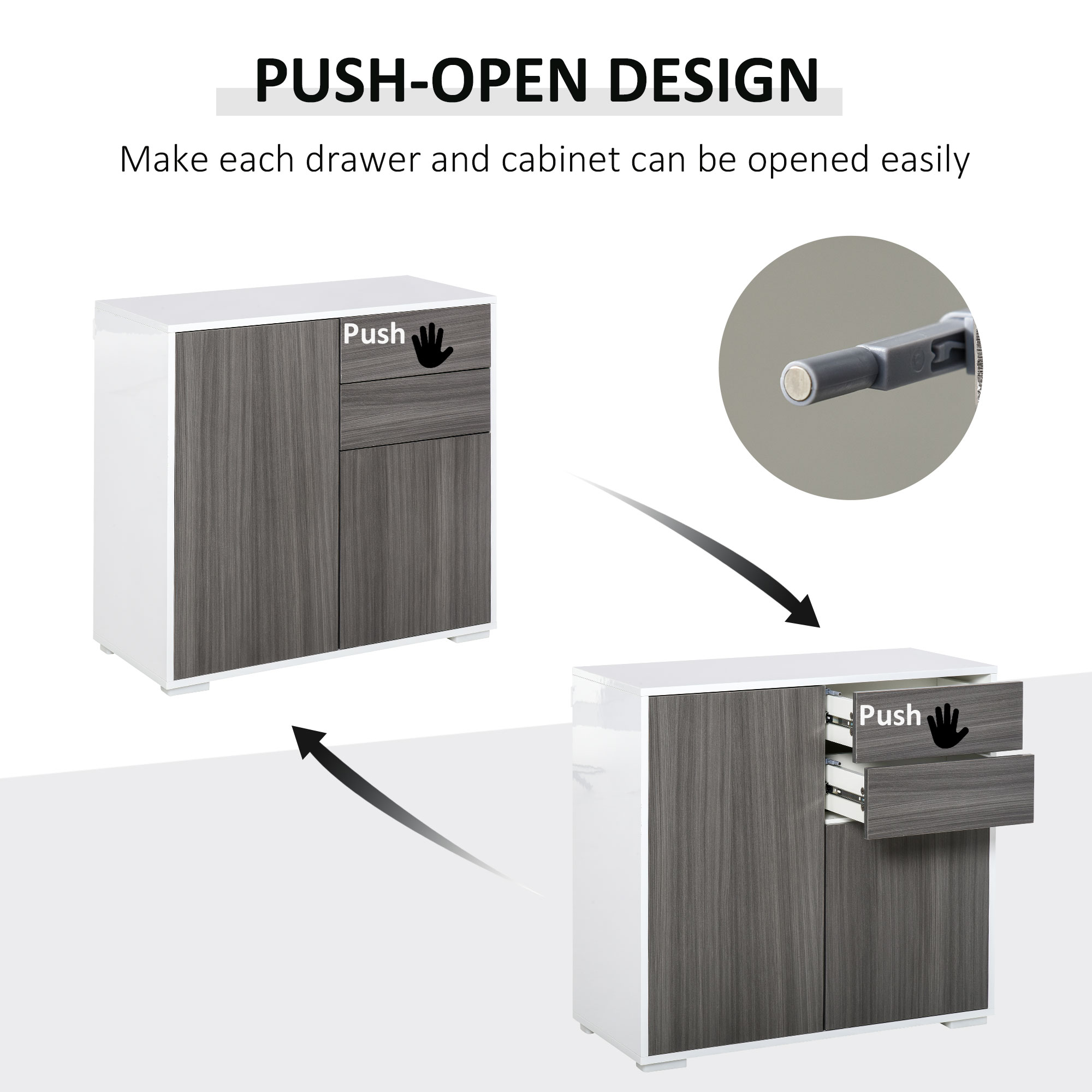 thumbnail 22 - Push-Open Side Cabinet with 2 Drawer 2 Door Cabinet for Home Office