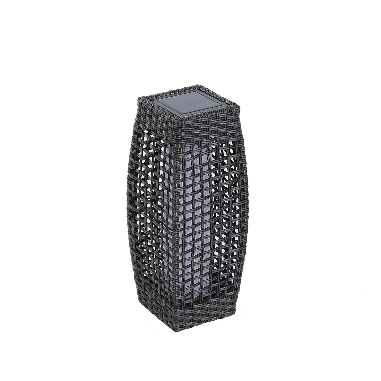 Rattan Solar Powered Lamp Led Tall Lantern Garden Patio Wicker Floor Light Warm Ebay