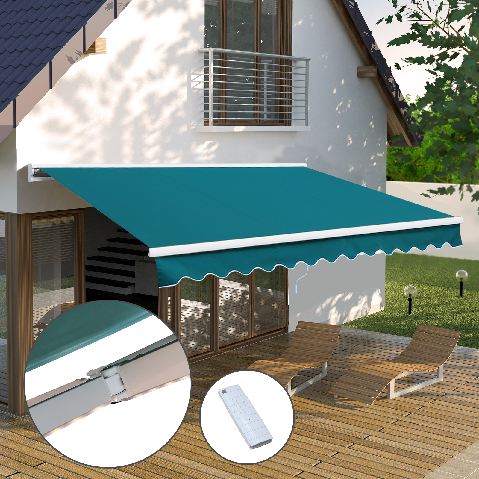Outsunny Outdoor Motorised Retractable Awning Window ...