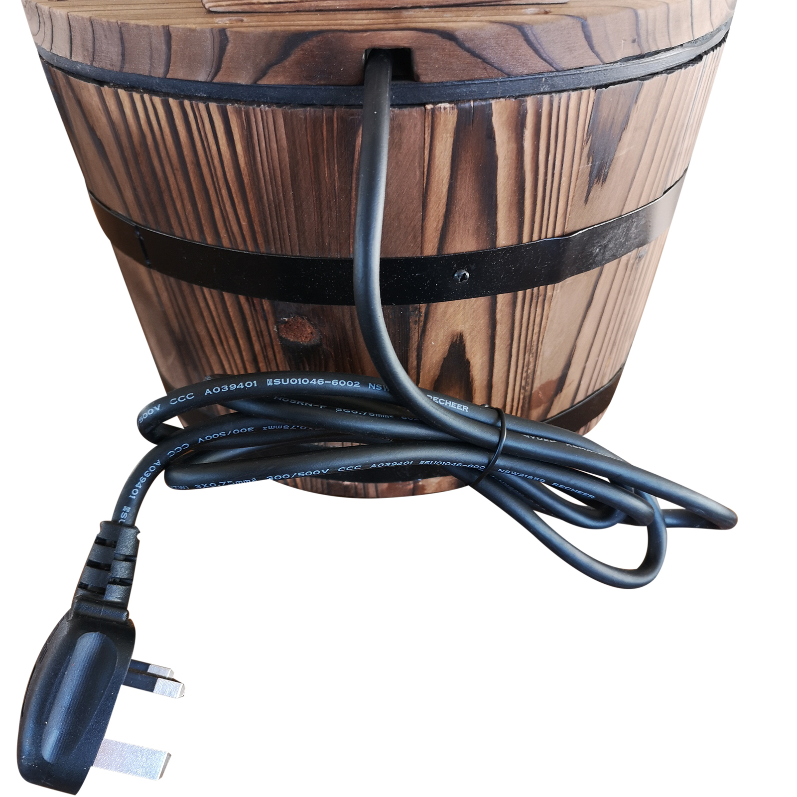 Details about Outsunny Garden Wood Barrel Pump Patio Electric Water  Fountain Deck Feature New