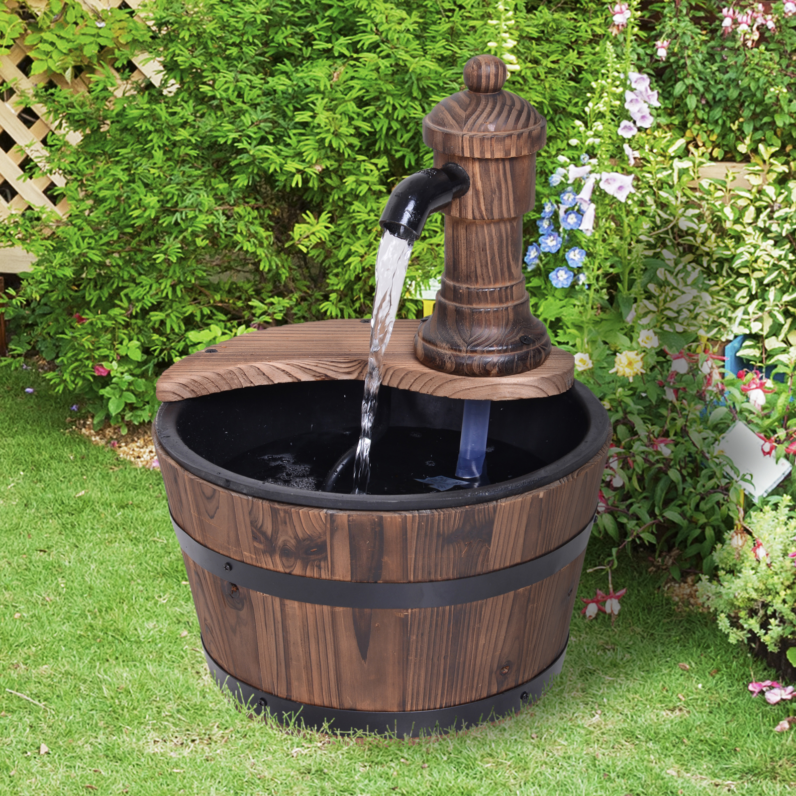 Details about Outsunny Garden Barrel Water Fountain Patio Wood Electric  Water Feature w/ Pump
