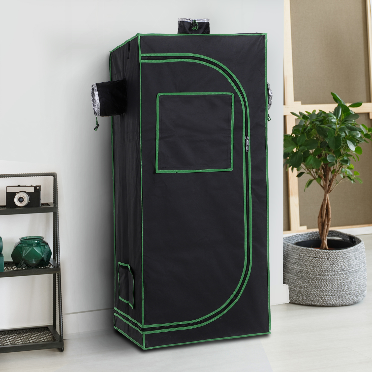 Hydroponic-Plant-Grow-Tent-Indoor-Obeservation-Window-Floor-Tray-Steel-Pole-600D thumbnail 18