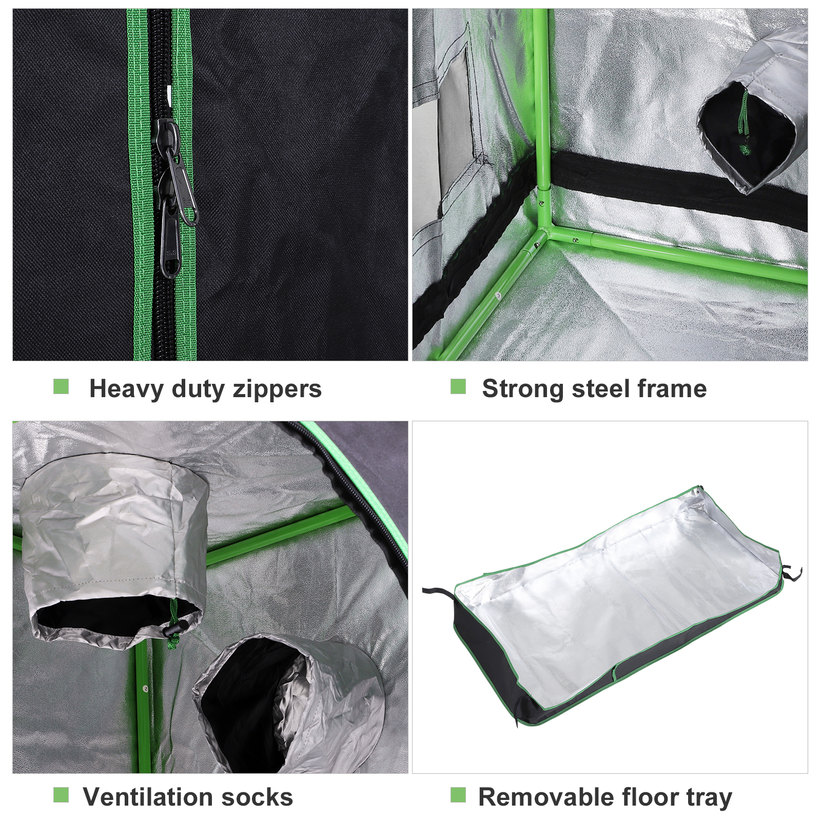 Hydroponic-Plant-Grow-Tent-Indoor-Obeservation-Window-Floor-Tray-Steel-Pole-600D thumbnail 15