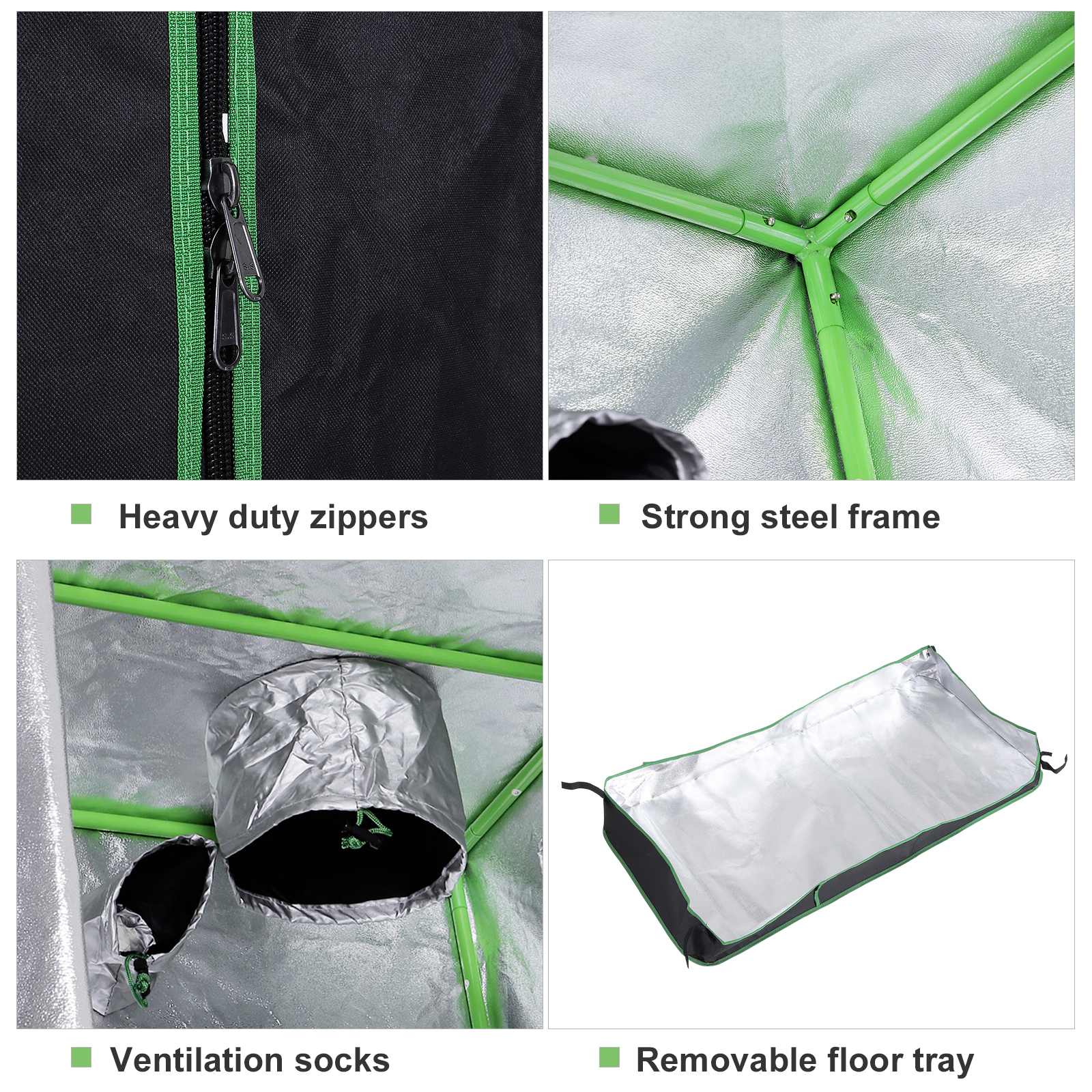 Hydroponic-Plant-Grow-Tent-Indoor-Obeservation-Window-Floor-Tray-Steel-Pole-600D thumbnail 26