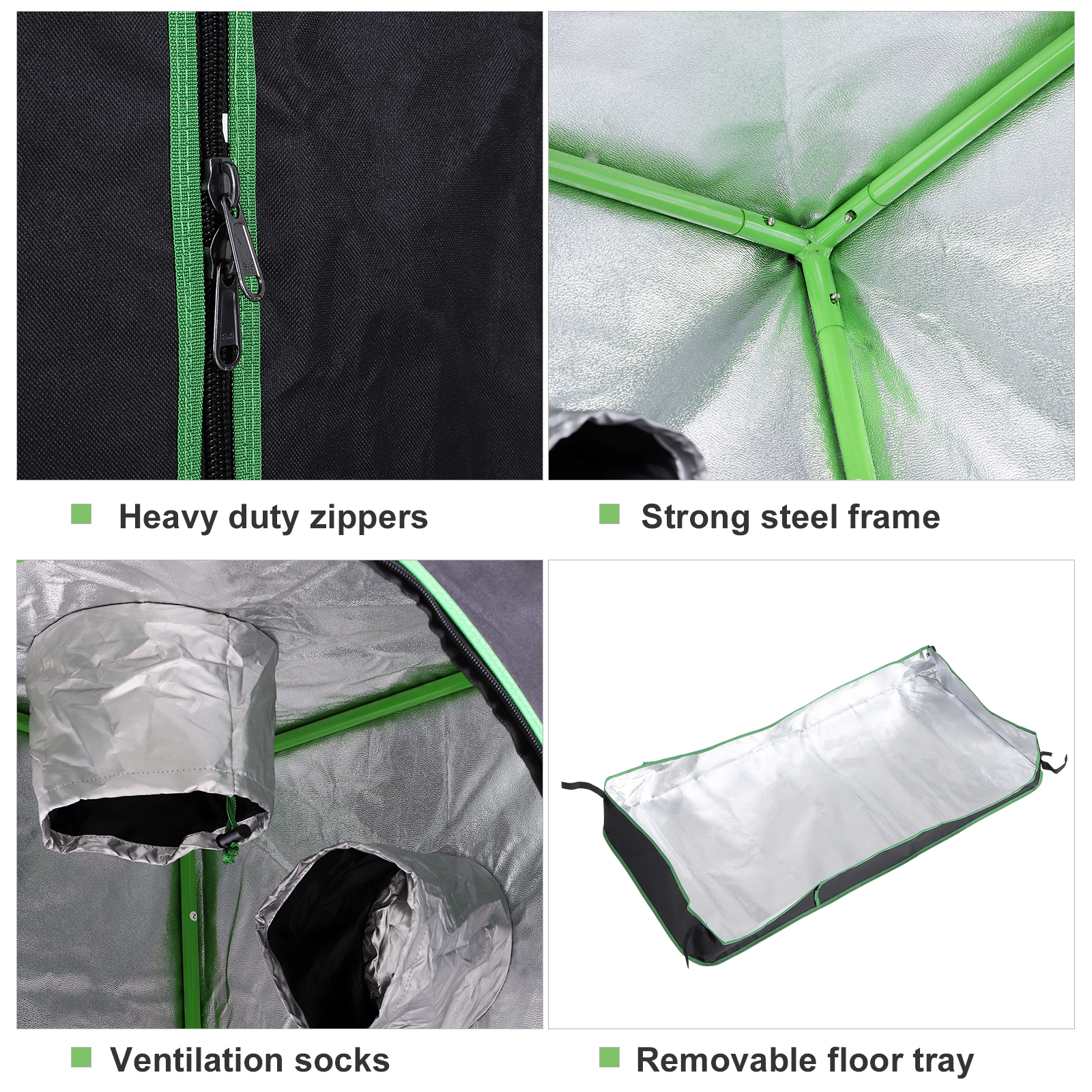 Hydroponic-Plant-Grow-Tent-Indoor-Obeservation-Window-Floor-Tray-Steel-Pole-600D thumbnail 4