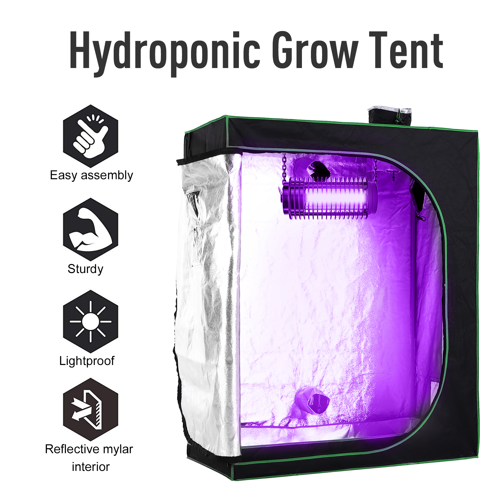 Hydroponic-Plant-Grow-Tent-Indoor-Obeservation-Window-Floor-Tray-Steel-Pole-600D thumbnail 5