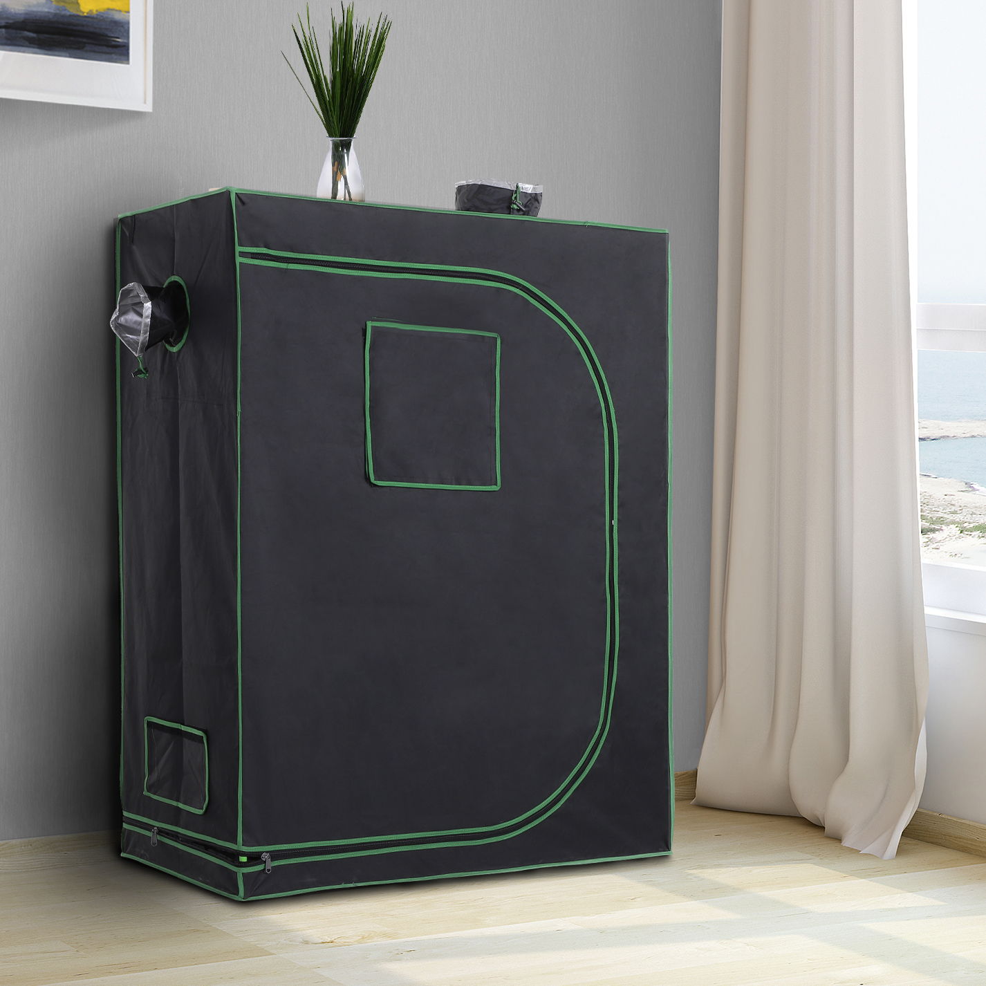 Hydroponic-Plant-Grow-Tent-Indoor-Obeservation-Window-Floor-Tray-Steel-Pole-600D thumbnail 9