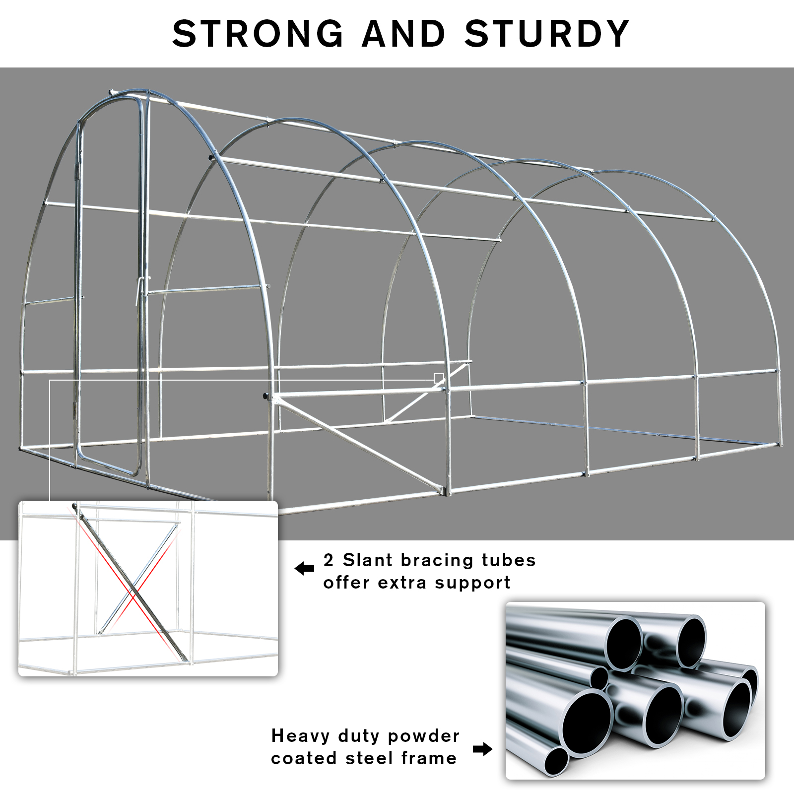 400L x 300W x 200Hcm Outsunny Walk-in Tunnel Greenhouse Garden Planting Shed Clear PE Cover Metal Frame