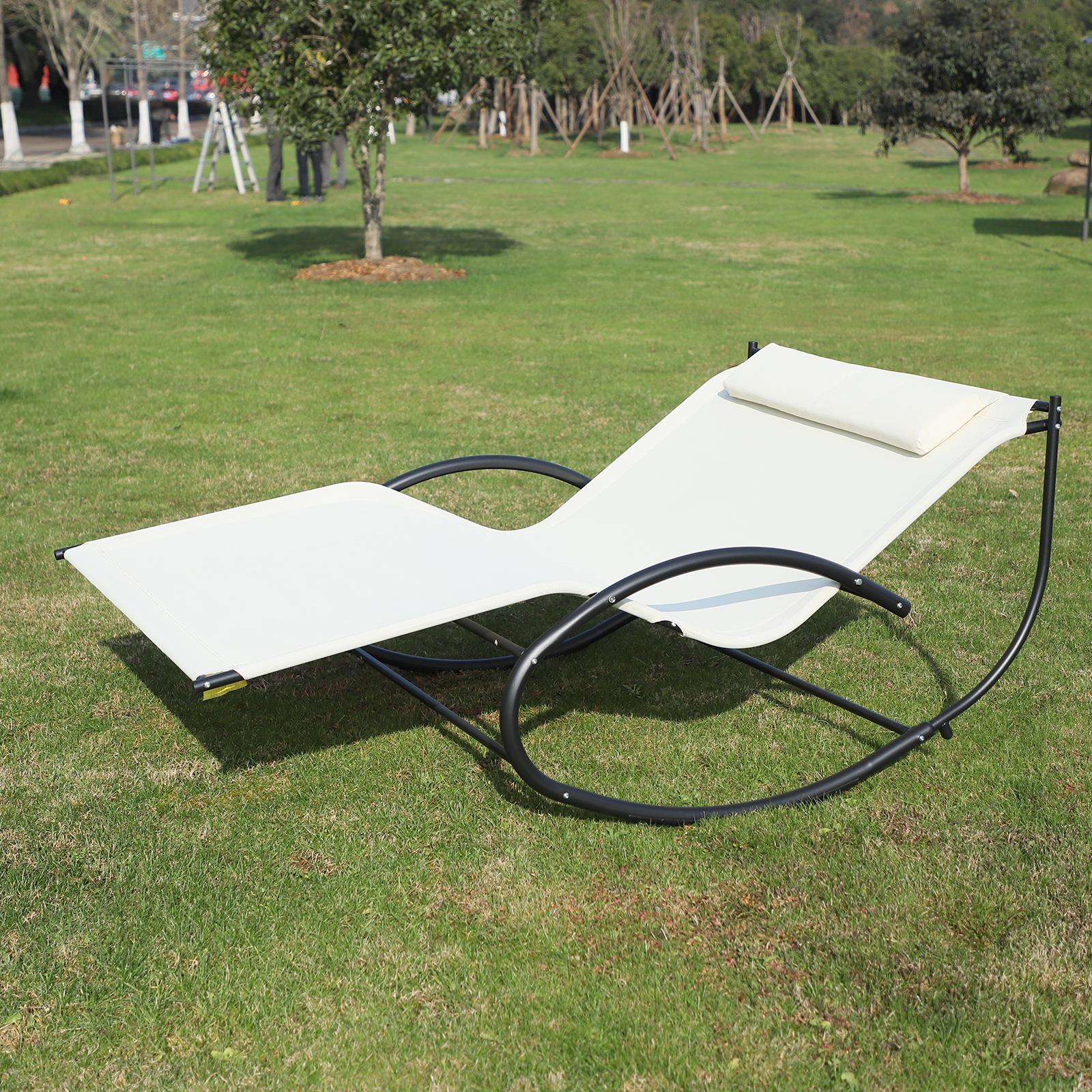 Outsunny Double Hammock Chair Sun Lounger Outdoor Patio Garden