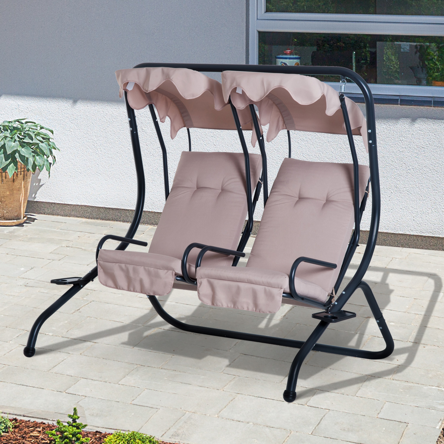 Grey Headrests and Removable Sun Shade Canopy Outsunny Canopy Swing Modern Outdoor Relax Chairs w// 2 Separate Chairs
