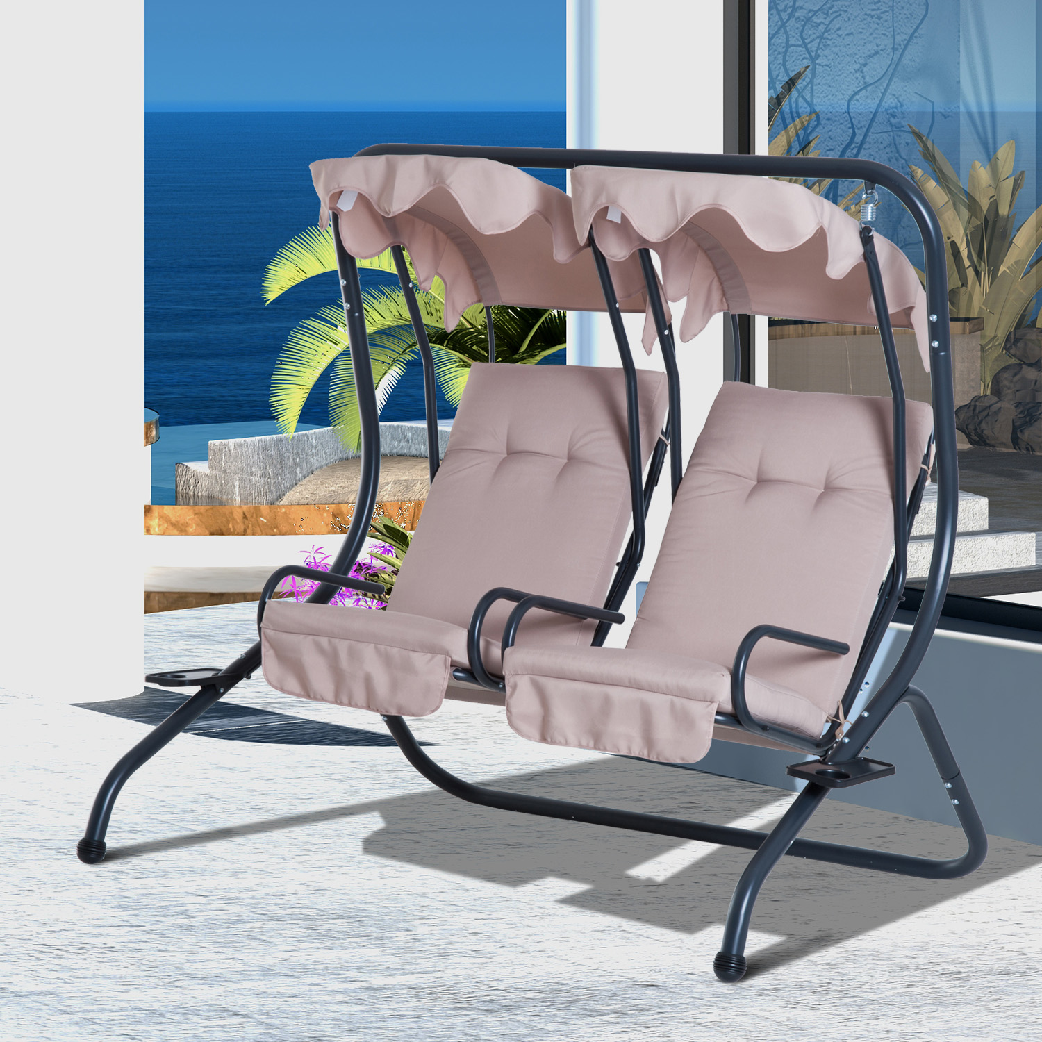 Outdoor 2 Person Patio Swing Chair Steel Hanging Seat With Canopy