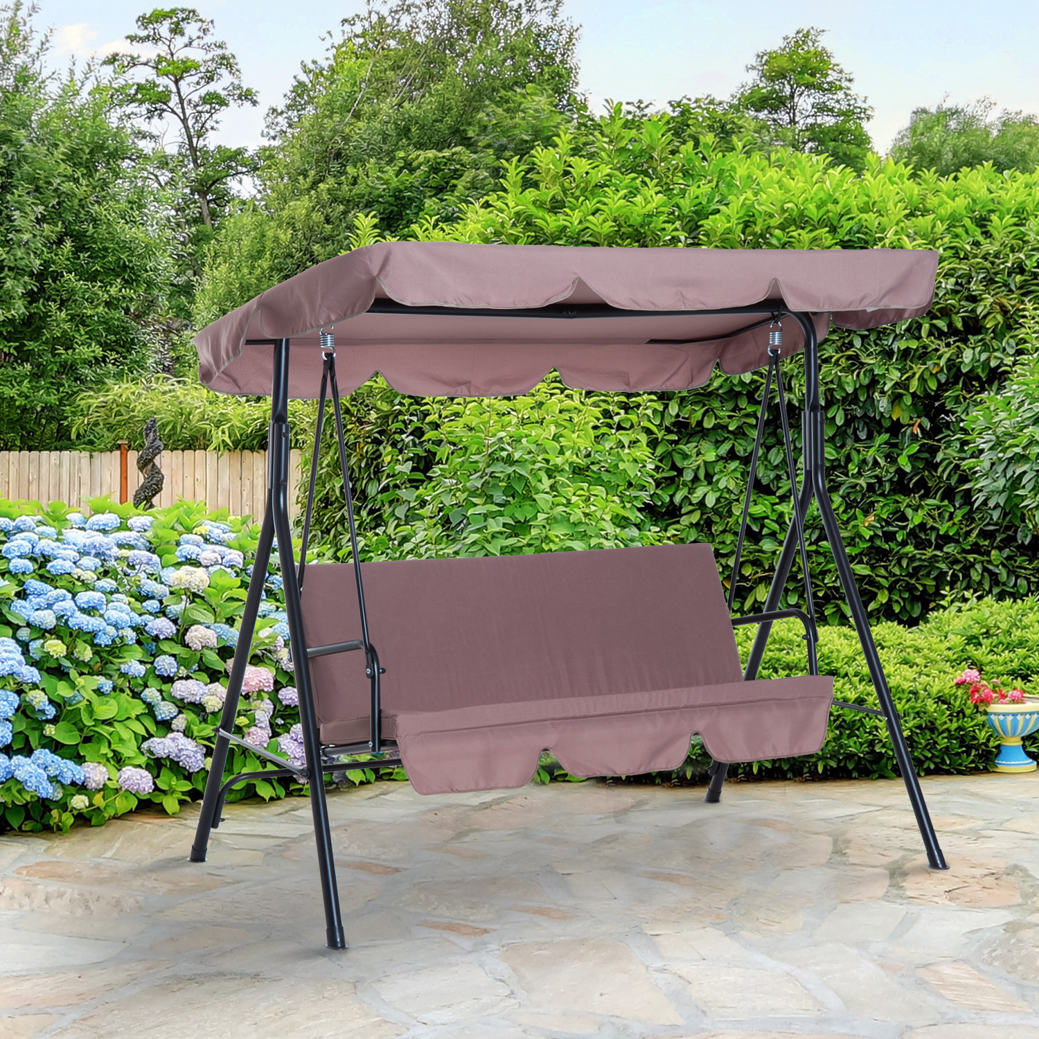 swing garden outdoor itm bench seater sentinel westwood patio metal taupe chair hammock