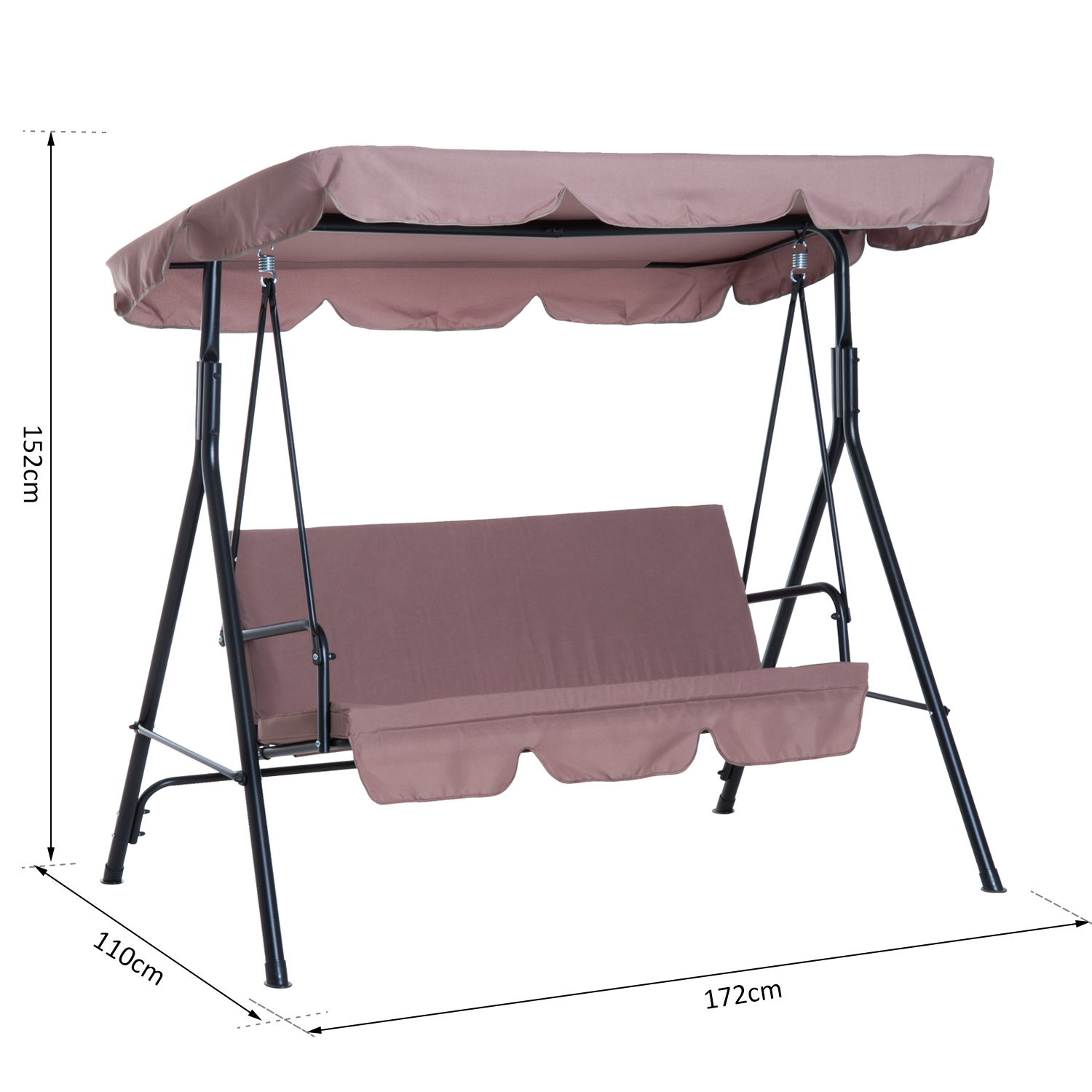 Garden-Hammock-Swing-Chair-Backyard-3-Seater-Adjustable-Canopy-Patio-Outdoor thumbnail 15