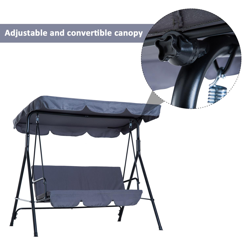 Garden-Hammock-Swing-Chair-Backyard-3-Seater-Adjustable-Canopy-Patio-Outdoor thumbnail 29