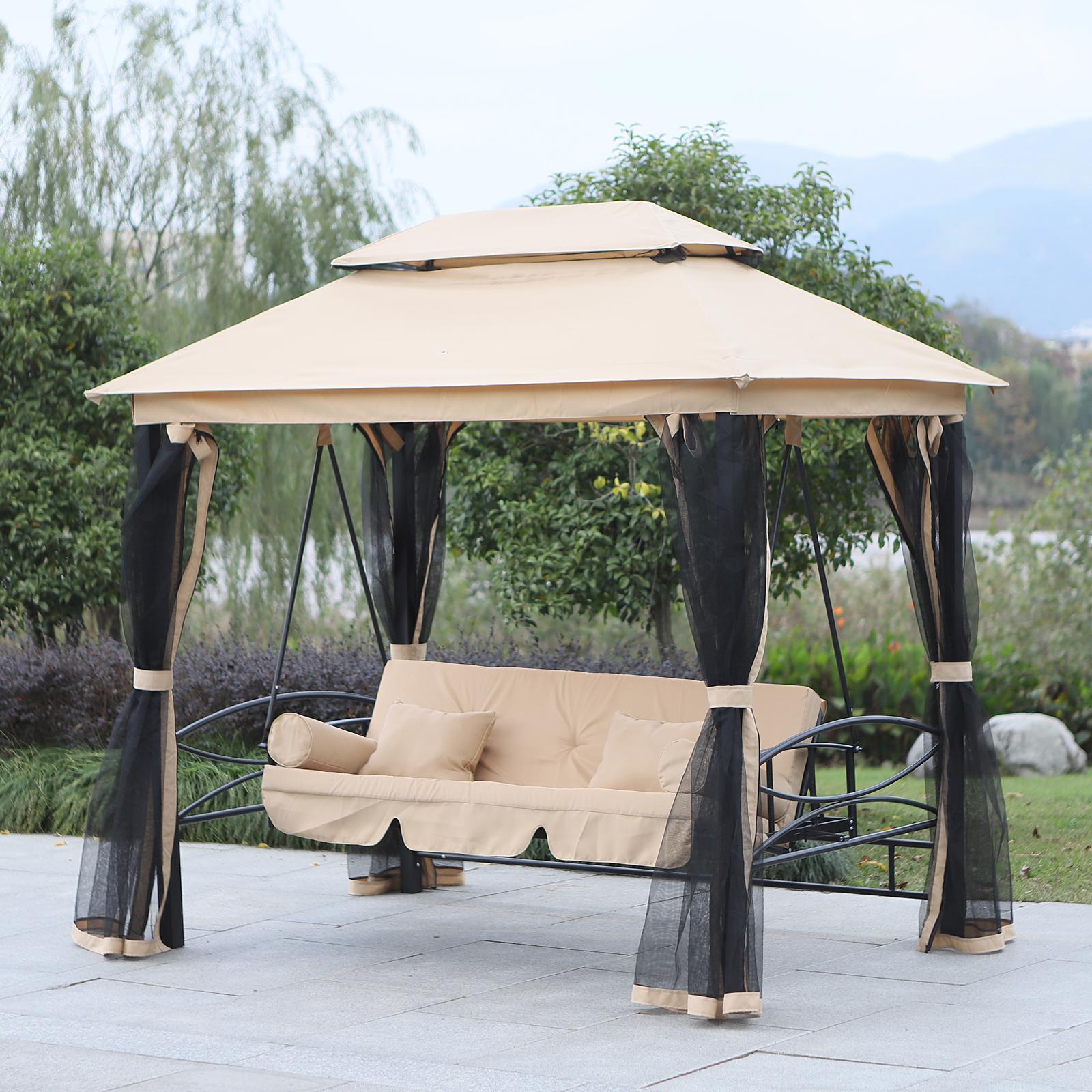 Heavy Duty Counter Stools, Outsunny 3 Seater Swing Hammock Garden Chair Bench Day Bed Canopy Gazebo Seat 5055974889811 Ebay