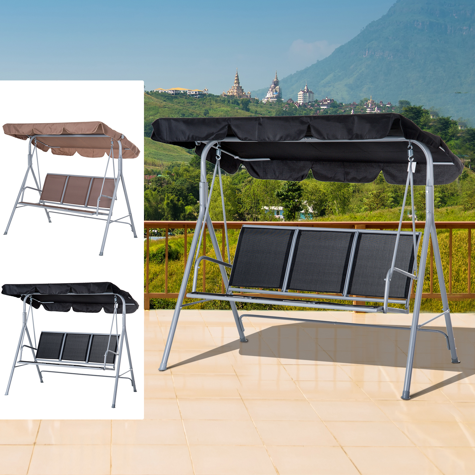Sensational Details About Swing Chair Patio Hammock Garden Bench 3 Seater Rock Metal Pabps2019 Chair Design Images Pabps2019Com