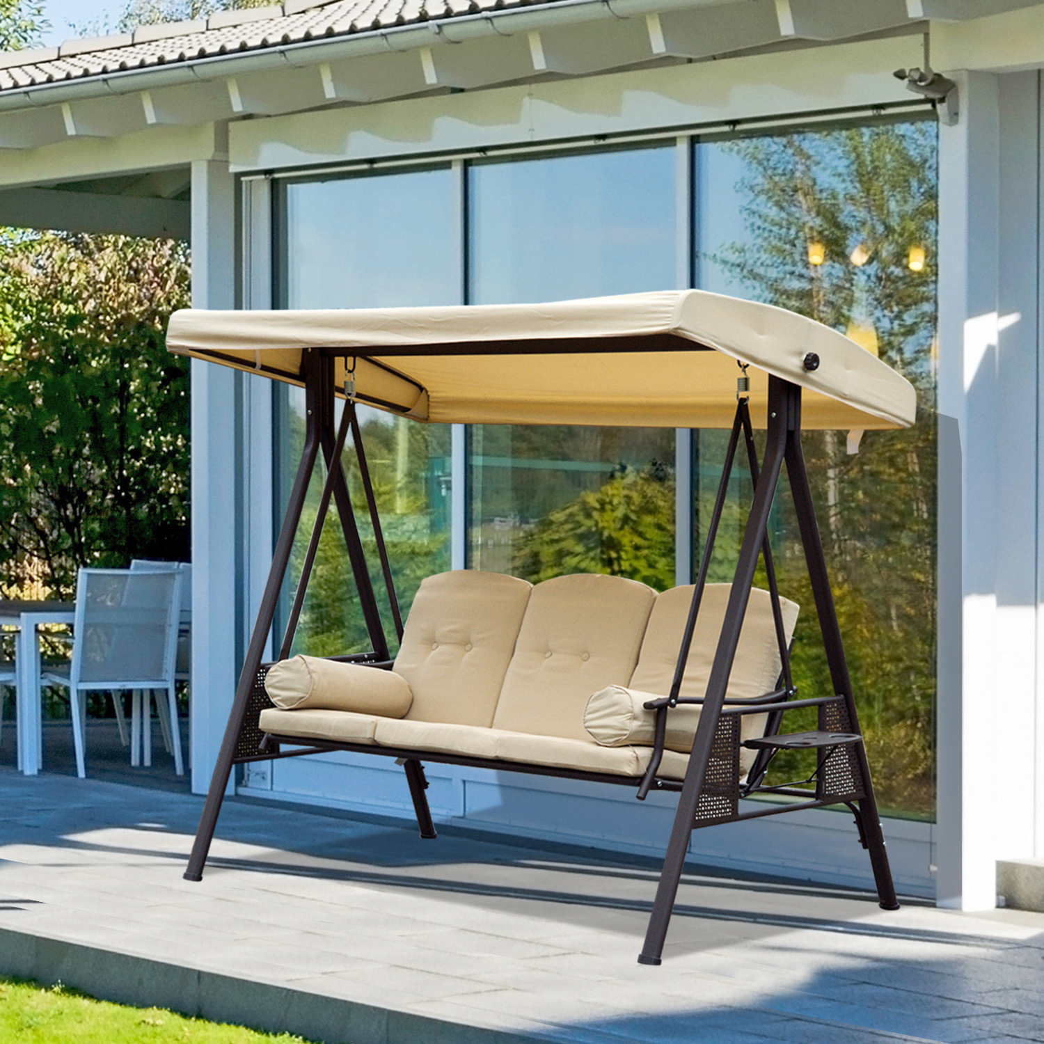 Outsunny 3 Seater Swing Chair Outdoor Metal Bench Garden Hammock