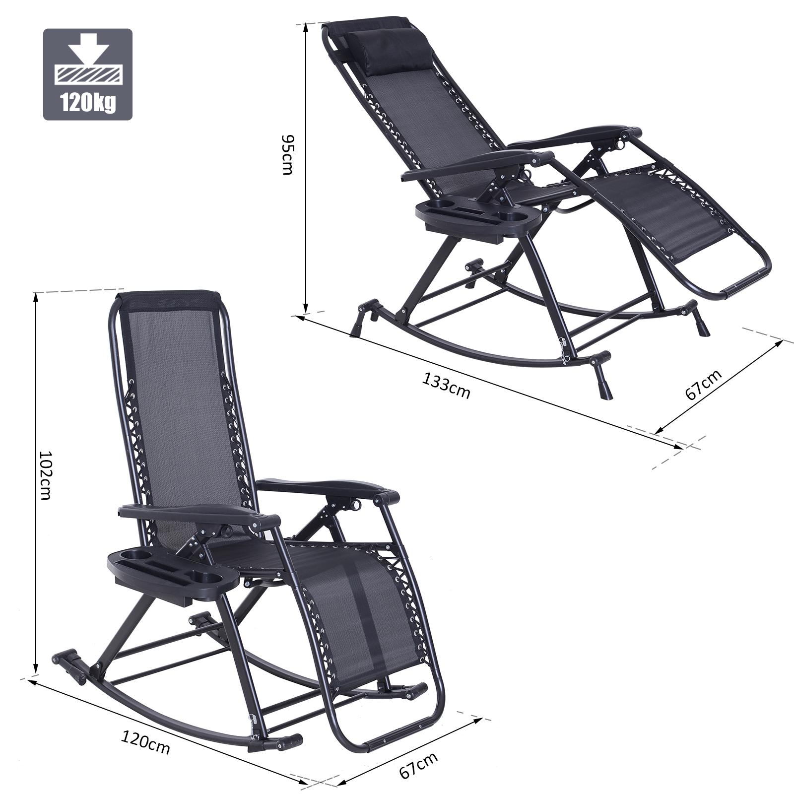 Folding Recliner Chair Outdoor Lounge Rocker Zero Gravity