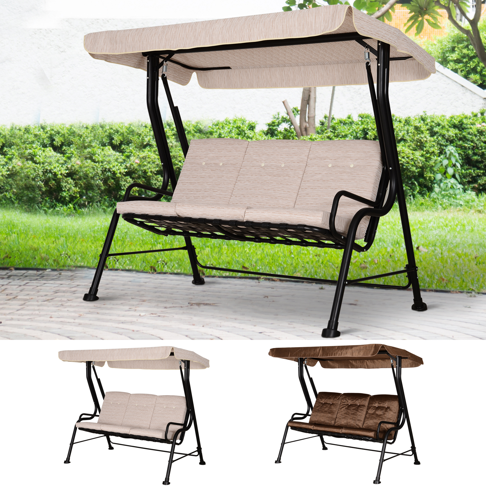 Outdoor Garden Backyard 3 Seater Porch Swing Chair Chaise Lounge W Canopy Ebay