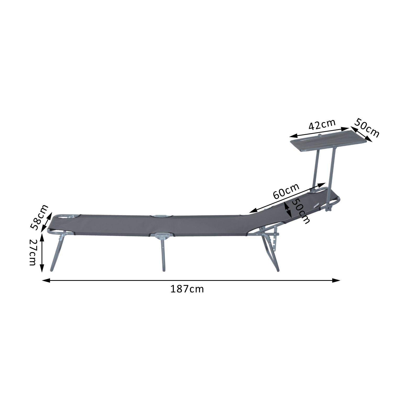 Reclining-Sun-Lounger-Chair-Folding-Recliner-Garden-Adjustable-Patio-W-Sunshade thumbnail 19