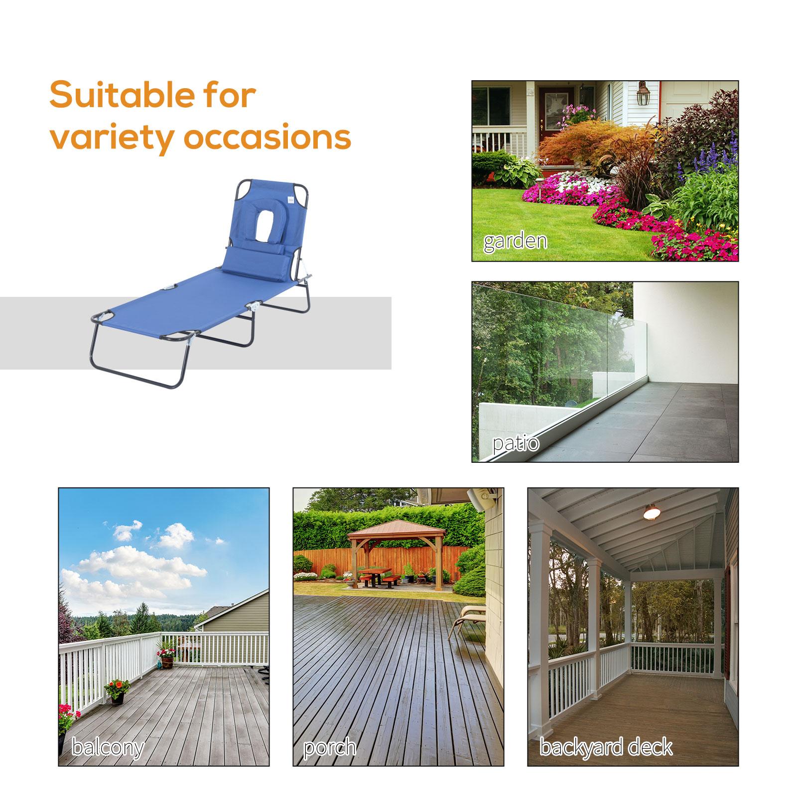 miniatura 15 - Silla Reclinable Plegable Tumbona Reclinable Jardín Al Aire Libre Portátil Asiento Cama