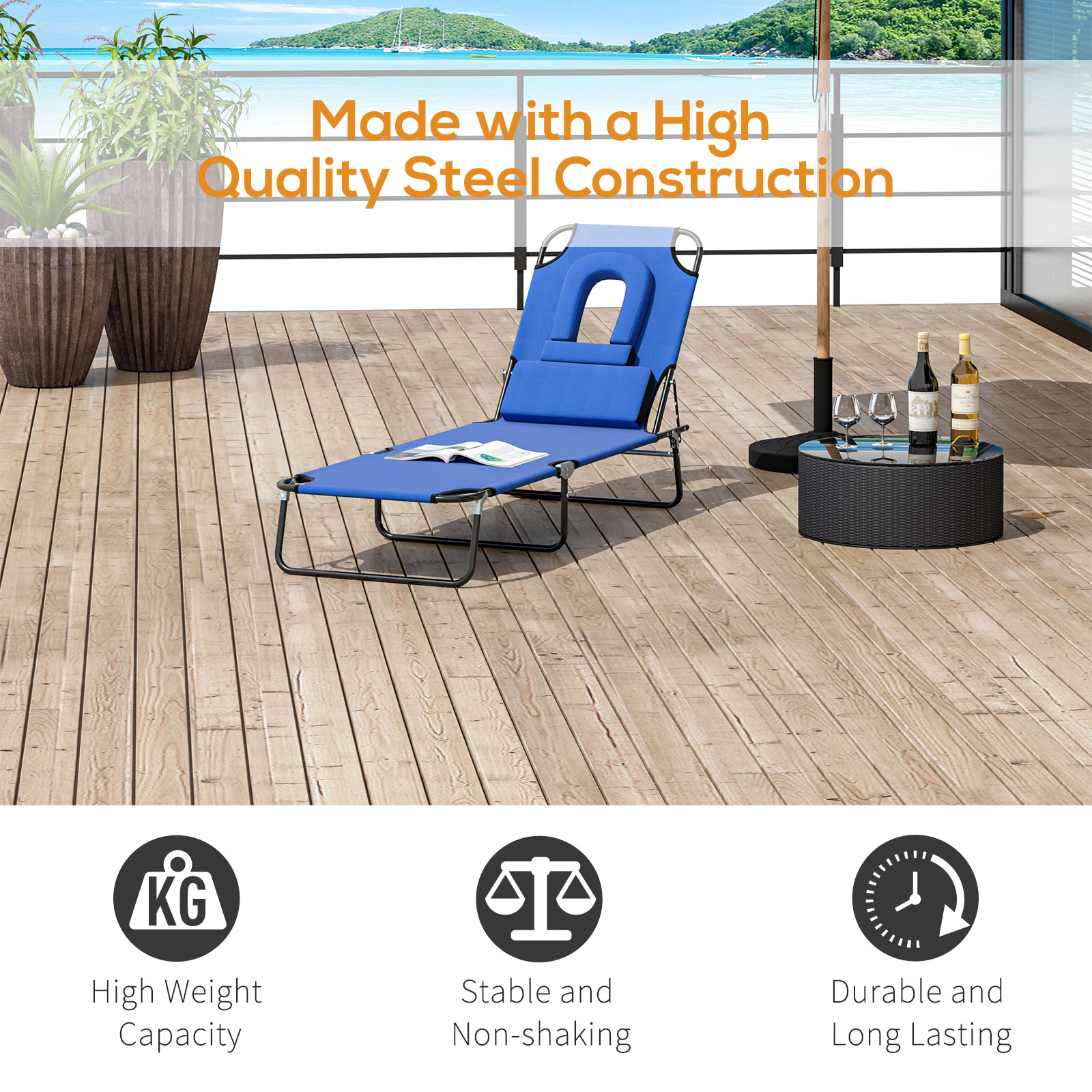 miniatura 16 - Silla Reclinable Plegable Tumbona Reclinable Jardín Al Aire Libre Portátil Asiento Cama