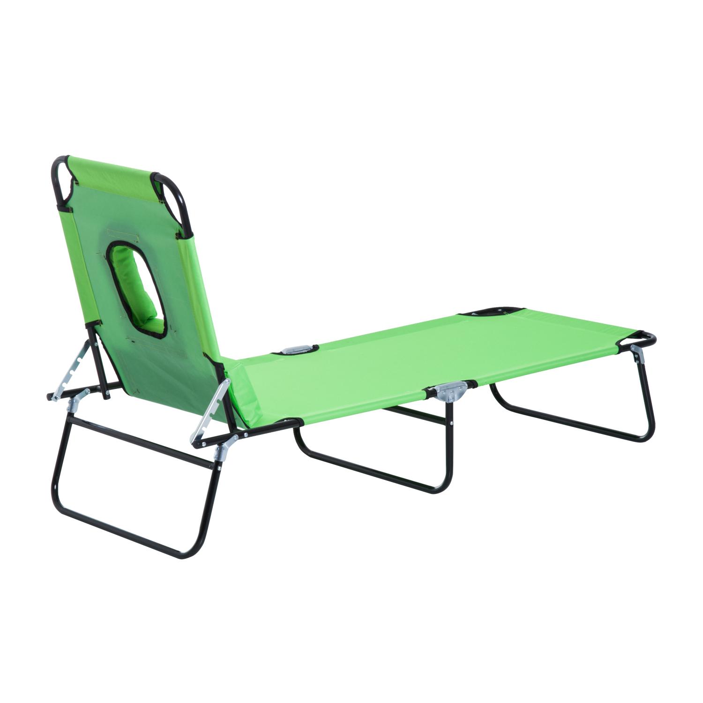 miniatura 27 - Silla Reclinable Plegable Tumbona Reclinable Jardín Al Aire Libre Portátil Asiento Cama