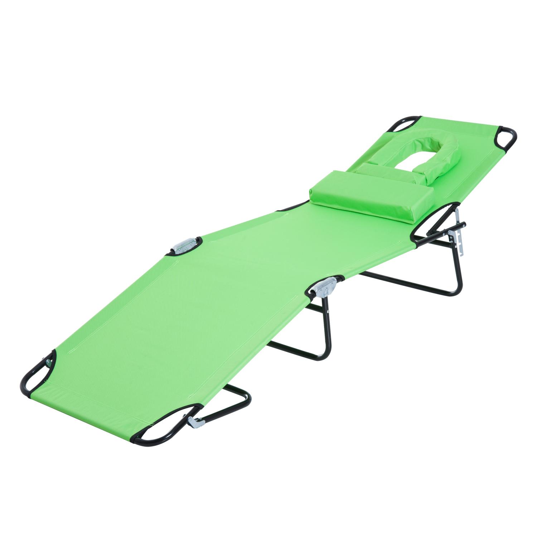 miniatura 28 - Silla Reclinable Plegable Tumbona Reclinable Jardín Al Aire Libre Portátil Asiento Cama