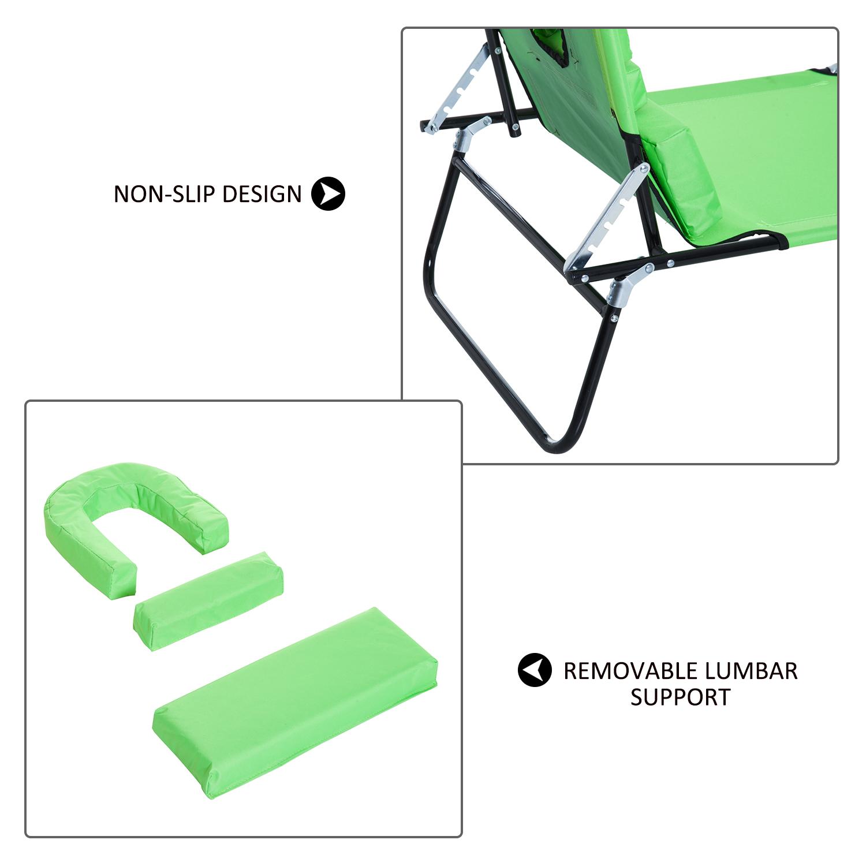 miniatura 25 - Silla Reclinable Plegable Tumbona Reclinable Jardín Al Aire Libre Portátil Asiento Cama