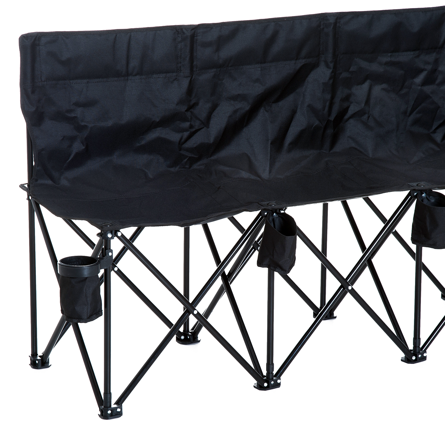 Folding Bench 6 Seat Camping Cup Holder Picnic Steel Blue Outdoor Garden