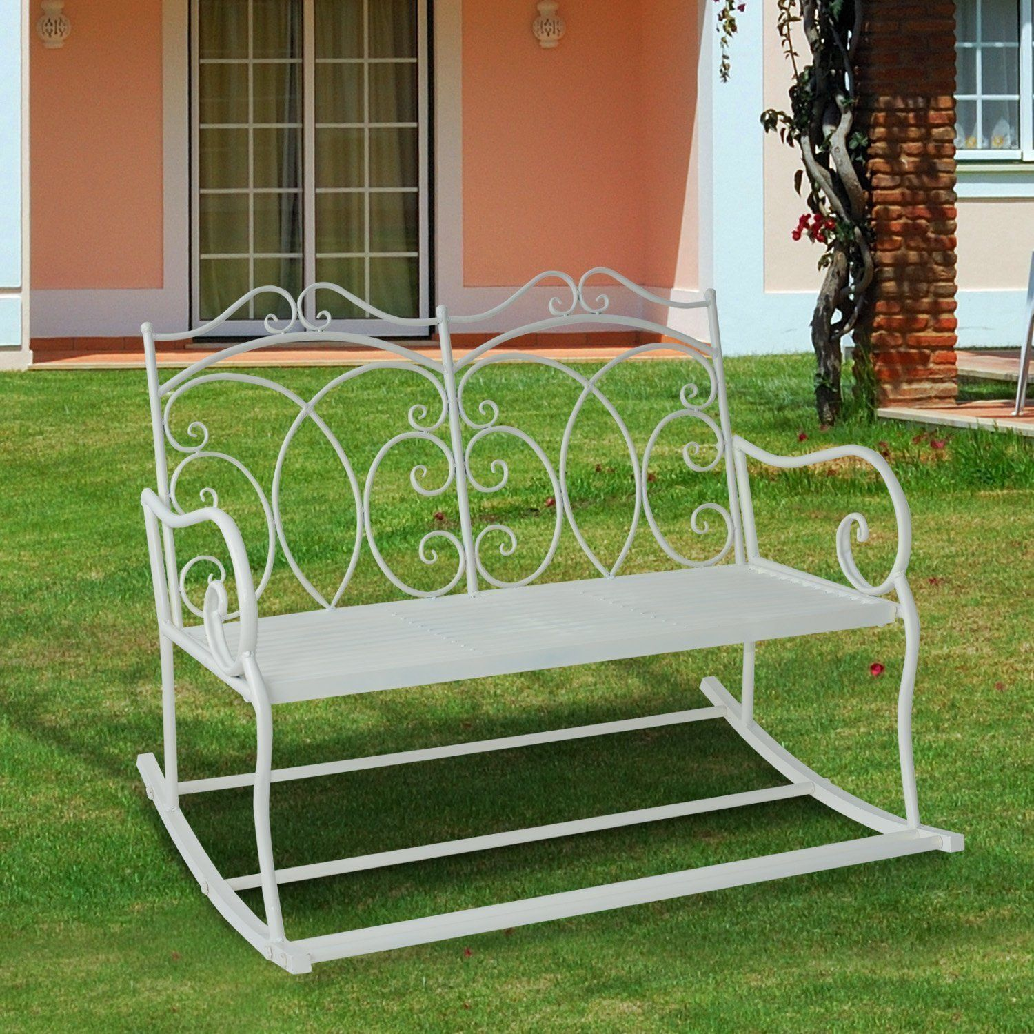 Details About Outsunny 2 Seater Metal Garden Bench Outdoor Rocking Chair  Patio White Love Seat