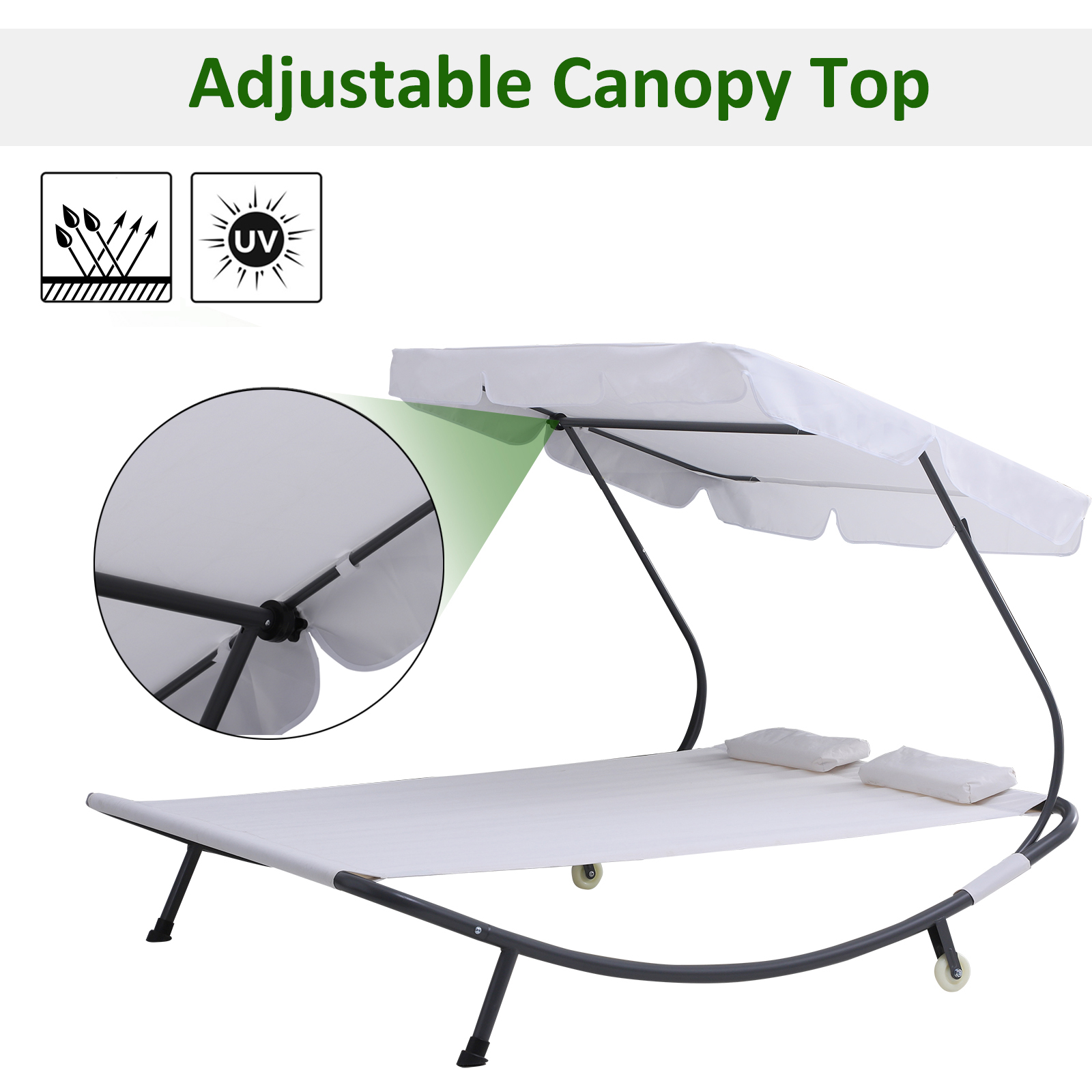 Outsunny Garden Double Hammock Sun Lounger Day Bed Canopy