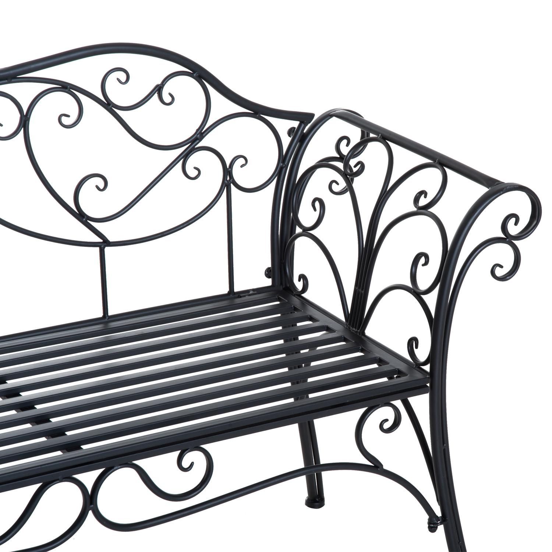 Garden Metal Bench 2 Seater Rustic Vintage Outdoor Chair
