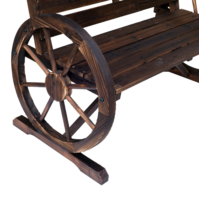 Outsunny Wooden Cart Wagon Wheel 2 Seater Garden Bench