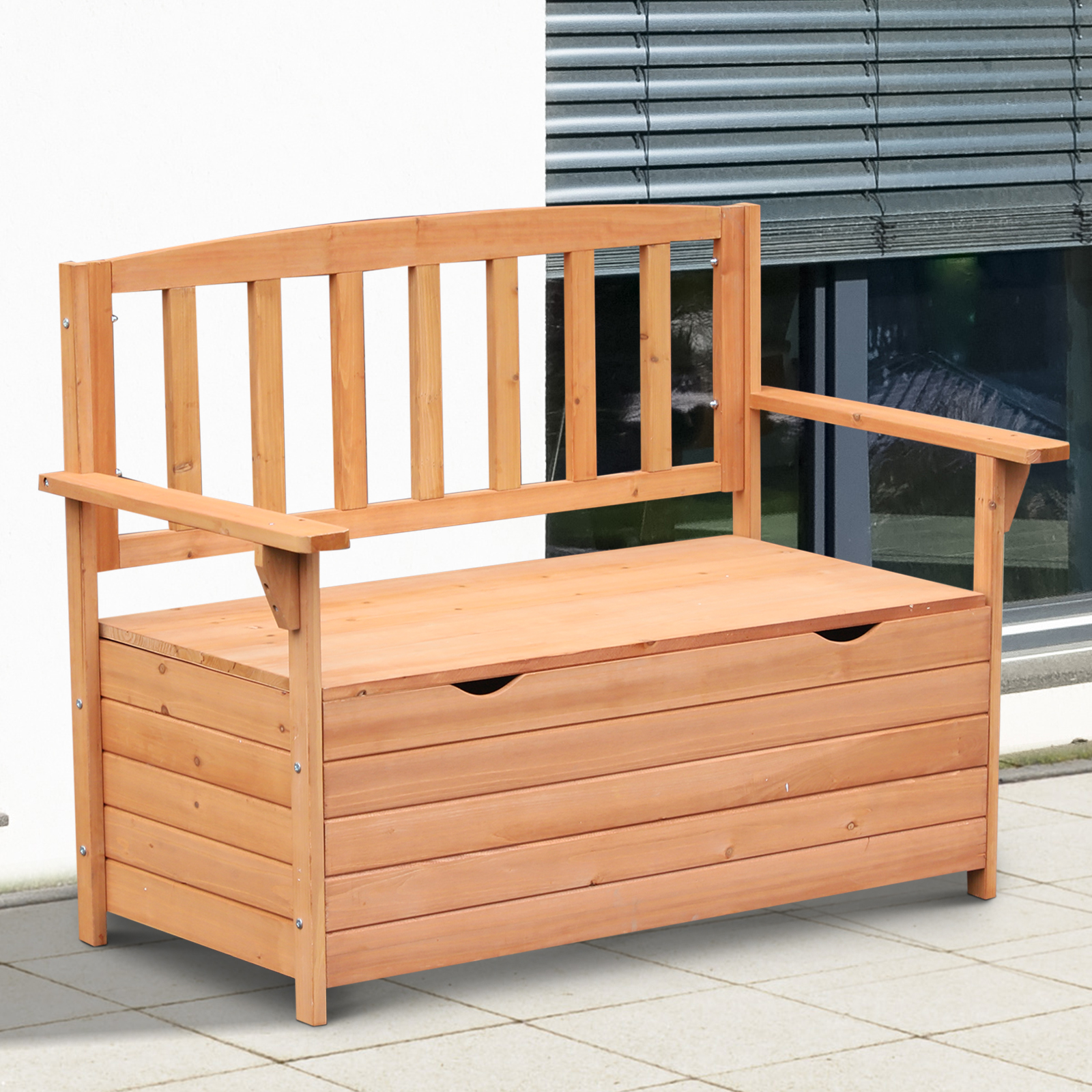 Outsunny Outdoor Garden Storage Bench Patio Box All Weather Deck Fir