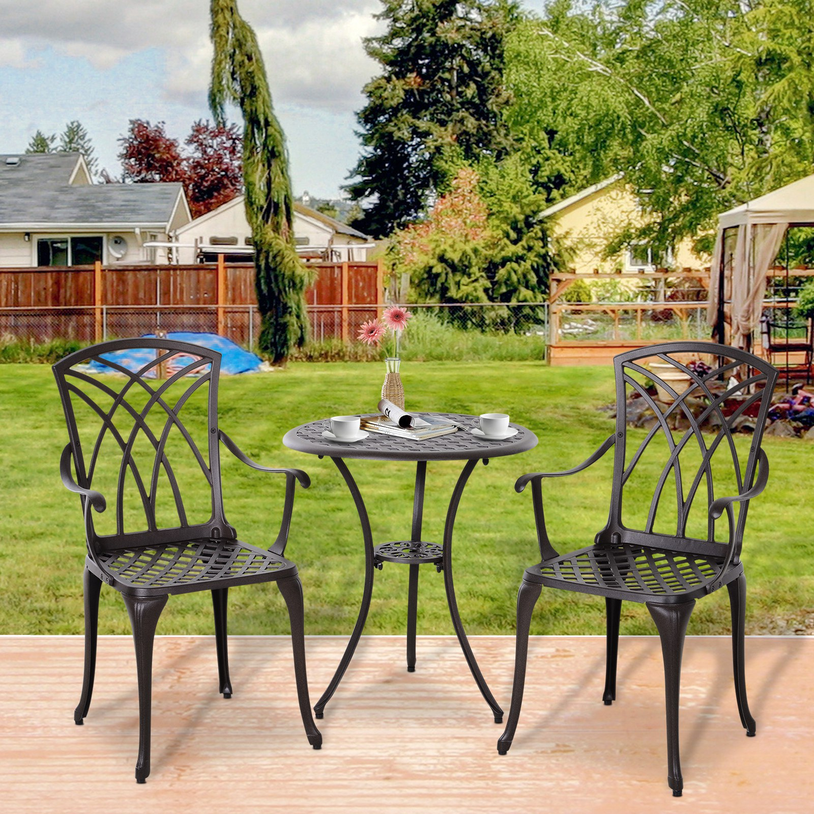Details about 7 Piece Coffee Table Chairs Outdoor Garden Furniture Set w/  Φ75mm Umbrella Hole