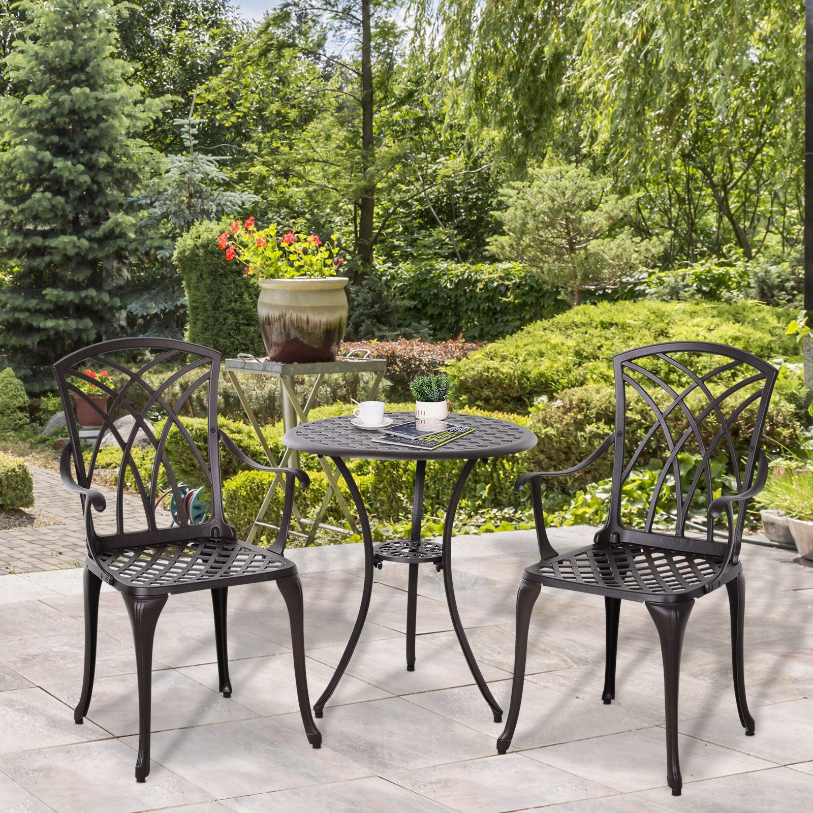 Outsunny 3 PC Coffee Table Chairs Outdoor Garden Furniture ...