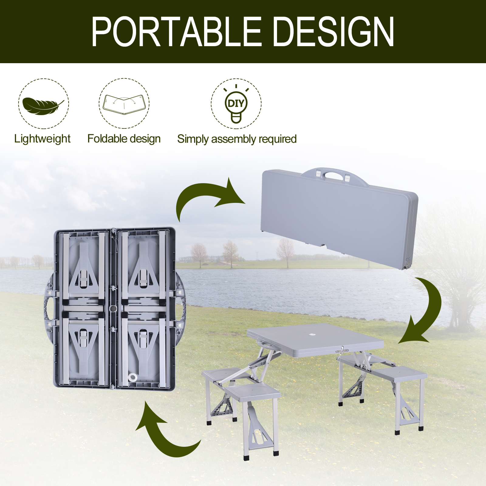 Portable-Folding-Camping-Picnic-Table-Party-Outdoor-Garden-Chair-Stools-Set thumbnail 33