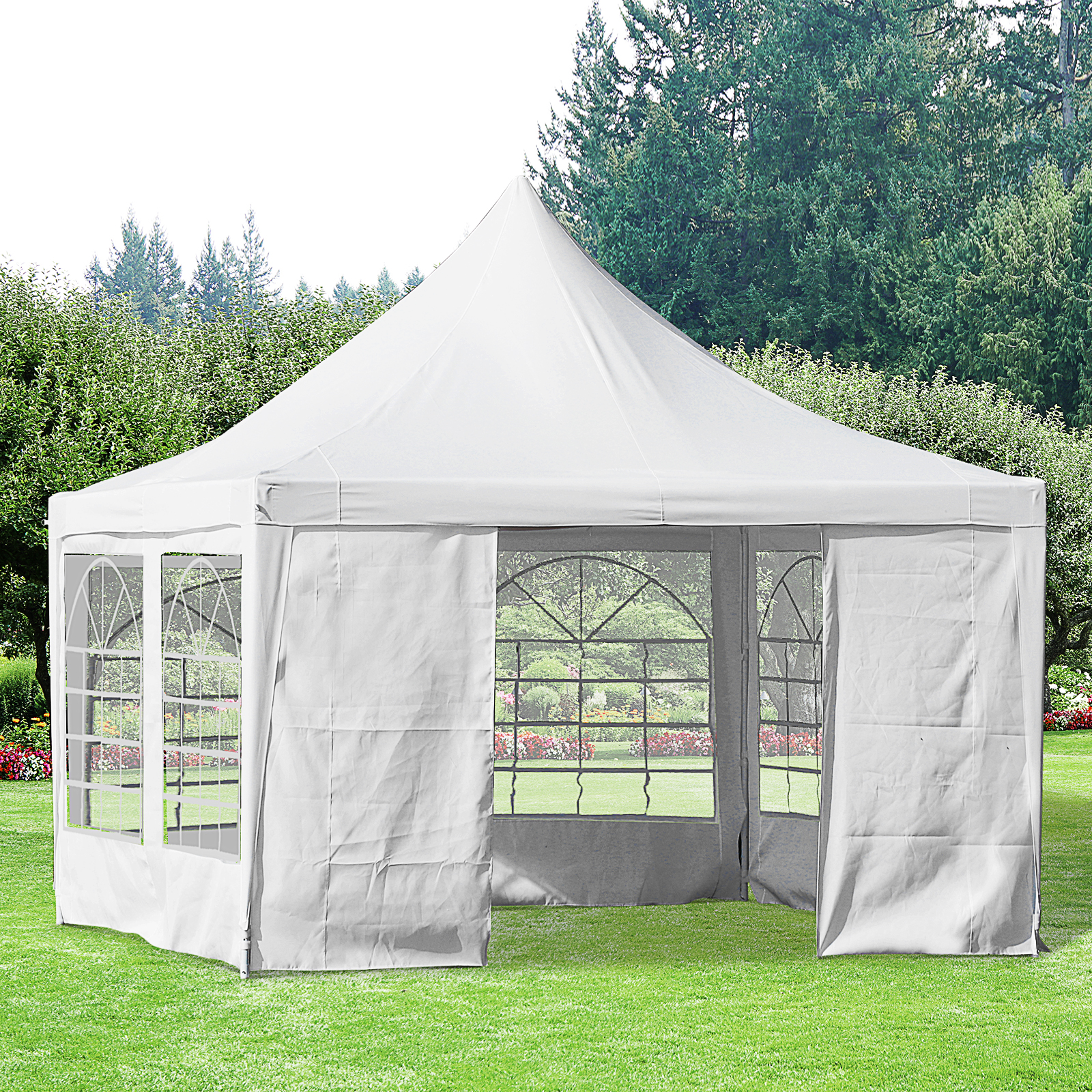 White Outsunny 3.6 x 3.6m Garden Gazebo Marquee Party Tent Wedding Canopy Outdoor Heavy Duty Metal Frame
