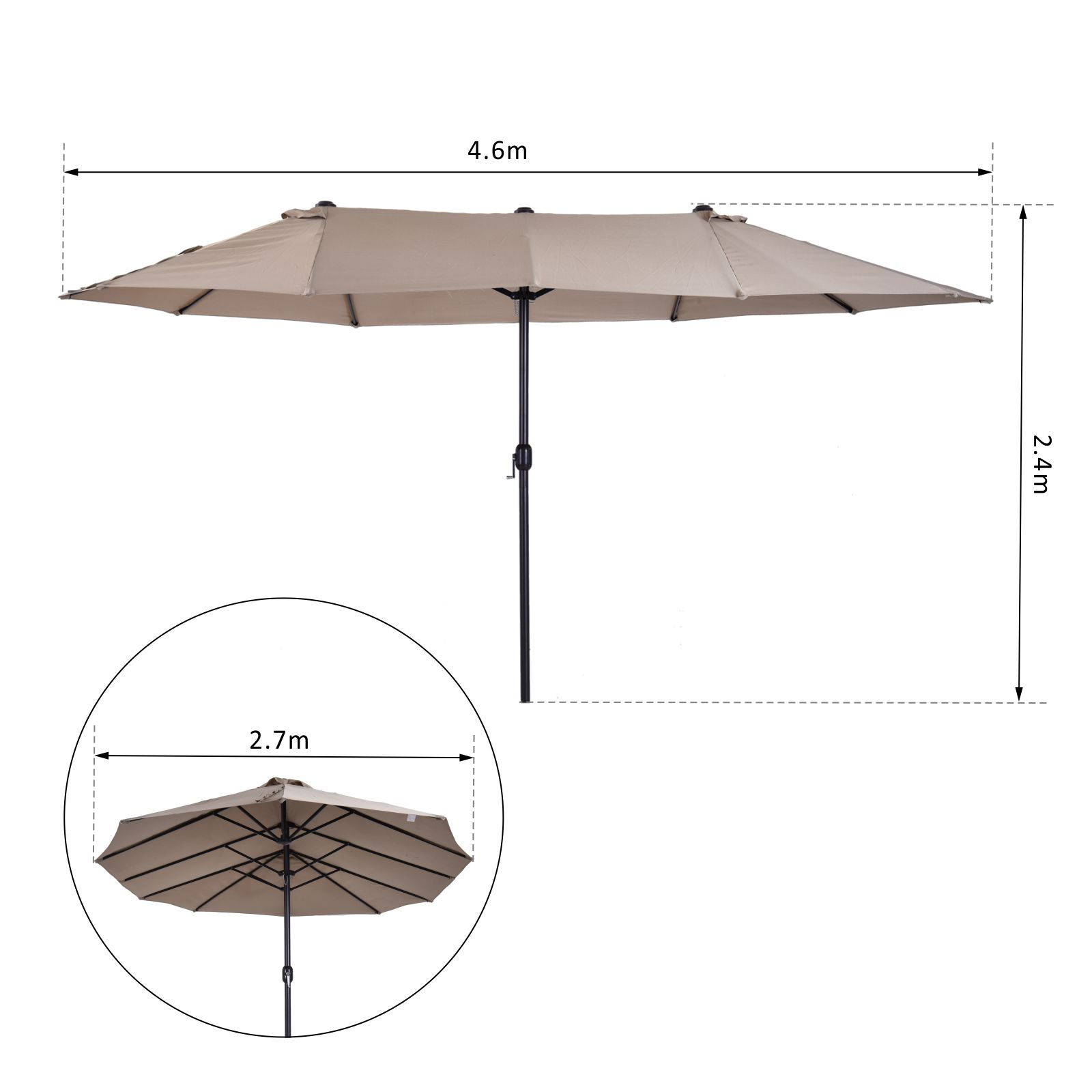 Outsunny 4 6m Sun Umbrella Parasol Umbrella Double Sided