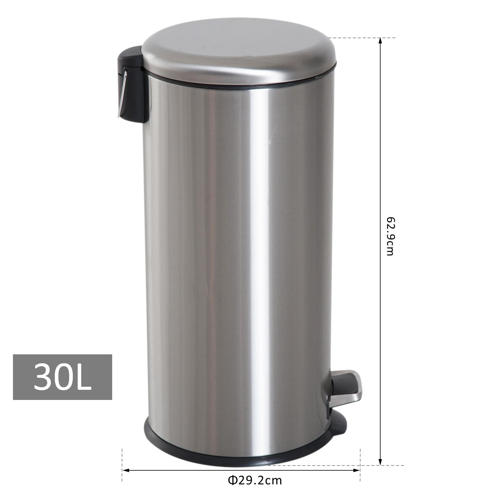 Pied Poubelle à Pédale métalliques en acier inoxydable déchets ordures Couvercle Cuisine Poubelle 30 L