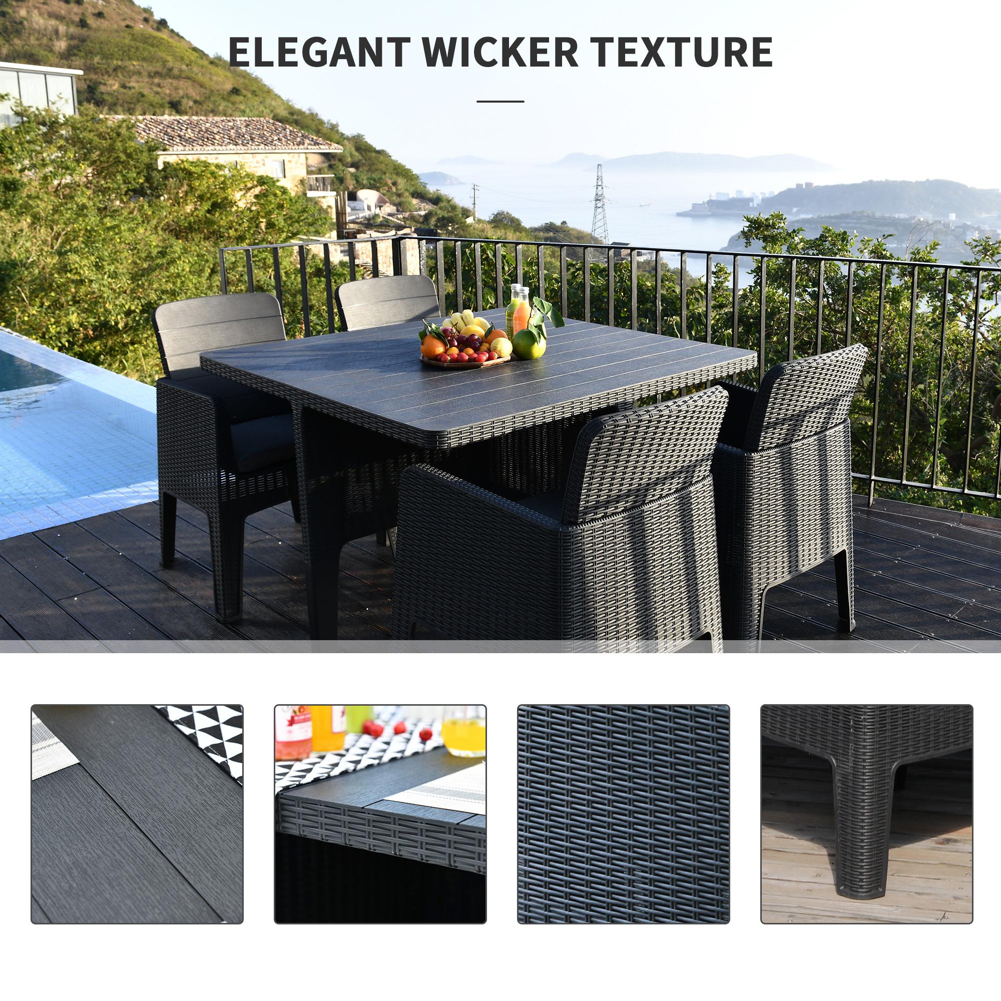 Outsunny 5 PCS Outdoor PP Rattan Garden Dining Cube Set ...