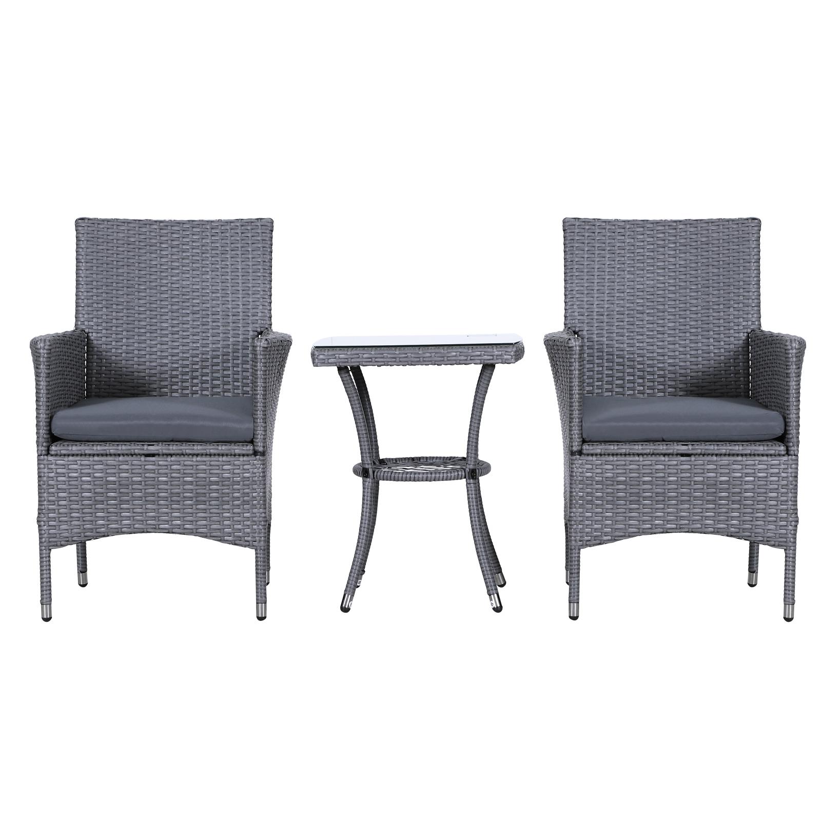 3 Pieces Patio Set Rattan Furniture Chair Bistro Grey ...