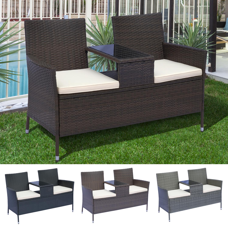 2 Seater Loveseat Garden Patio Tea Table Outdoor Furniture ...