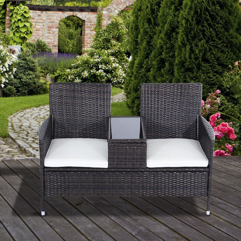Outsunny 2 Seater Rattan Chair Garden Furniture Patio Love ...
