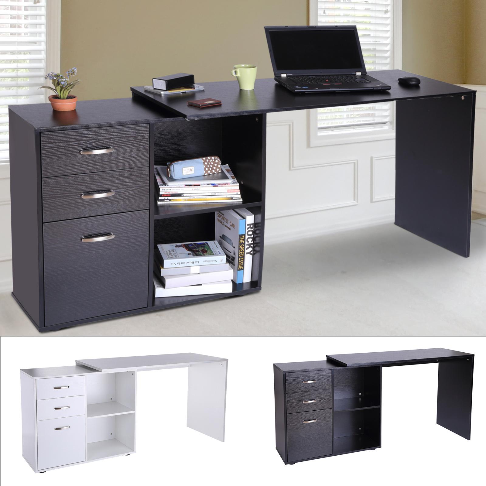 Home Office Computer Study Workstation Desk with Bookshelf Lockable Drawer US